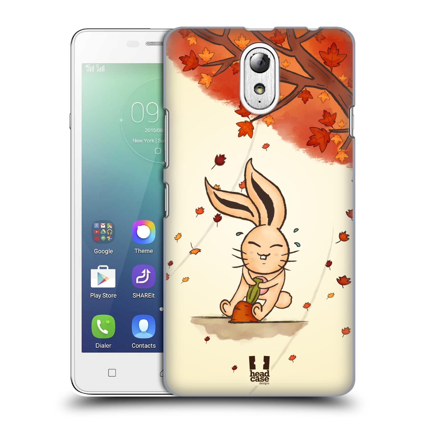 HEAD CASE pevný plastový obal na mobil LENOVO VIBE P1m / LENOVO VIBE p1m DUAL SIM vzor podzimní zvířátka zajíček a mrkev