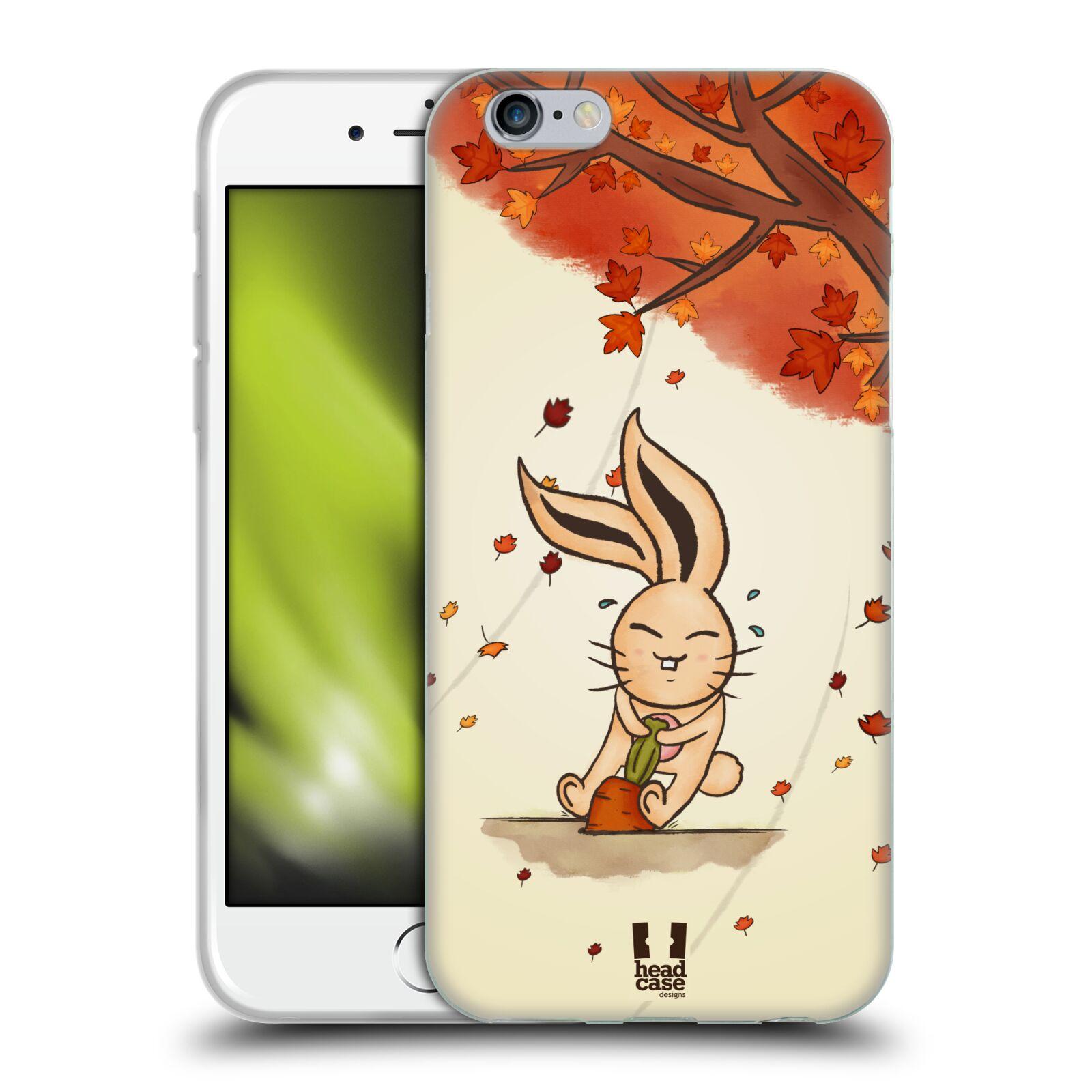 HEAD CASE silikonový obal na mobil Apple Iphone 6/6S vzor podzimní zvířátka zajíček a mrkev