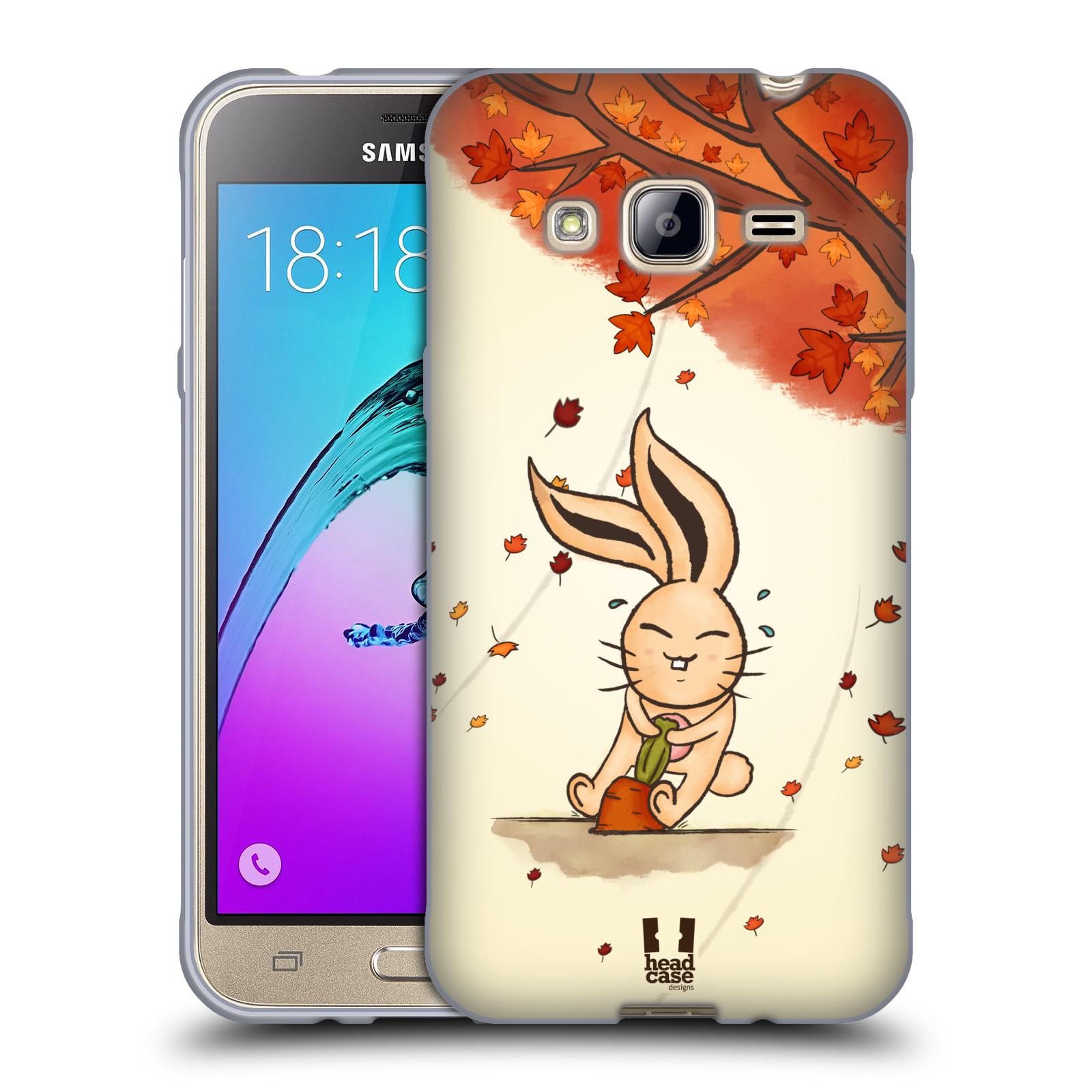 HEAD CASE silikonový obal na mobil Samsung Galaxy J3, J3 2016 vzor podzimní zvířátka zajíček a mrkev