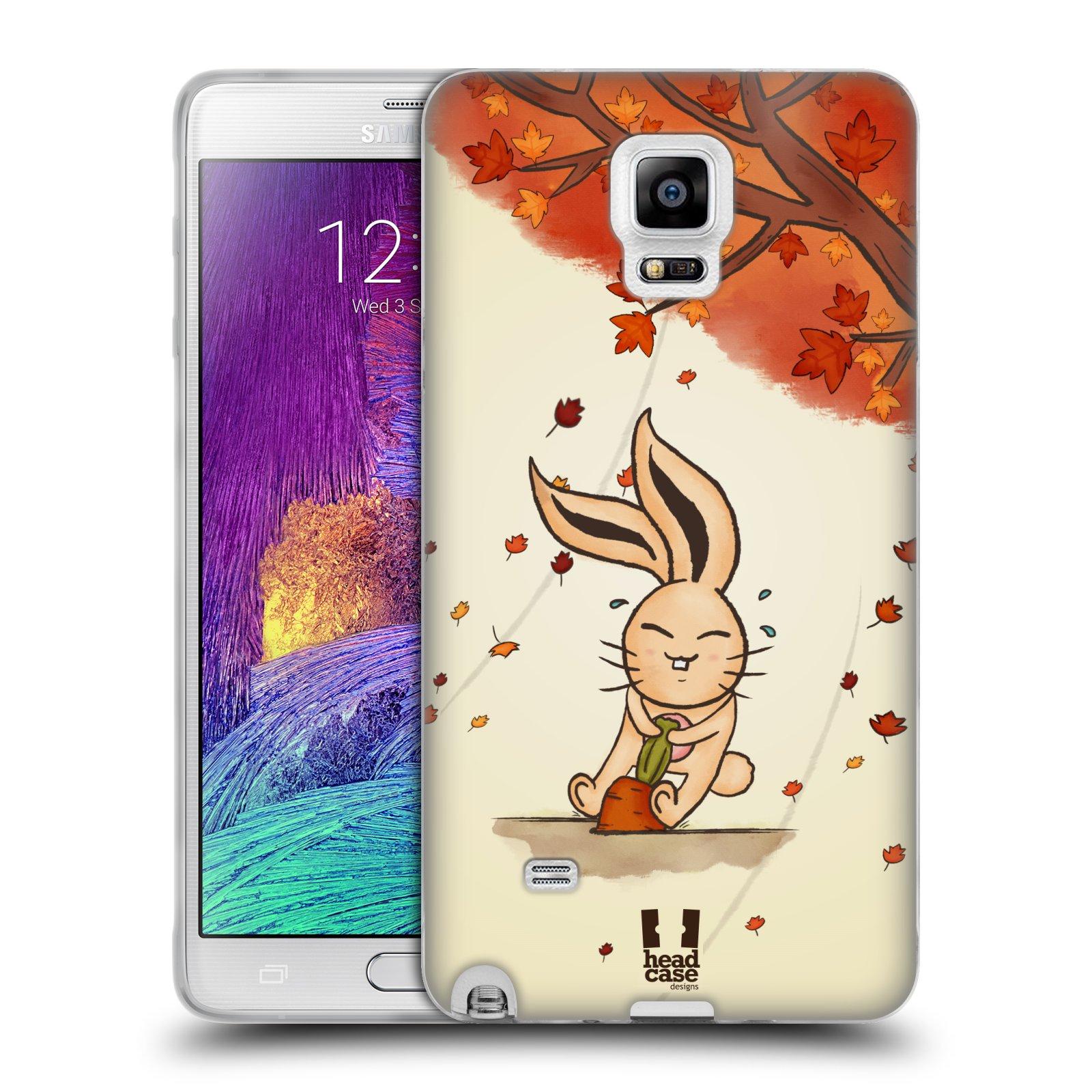 HEAD CASE silikonový obal na mobil Samsung Galaxy Note 4 (N910) vzor podzimní zvířátka zajíček a mrkev