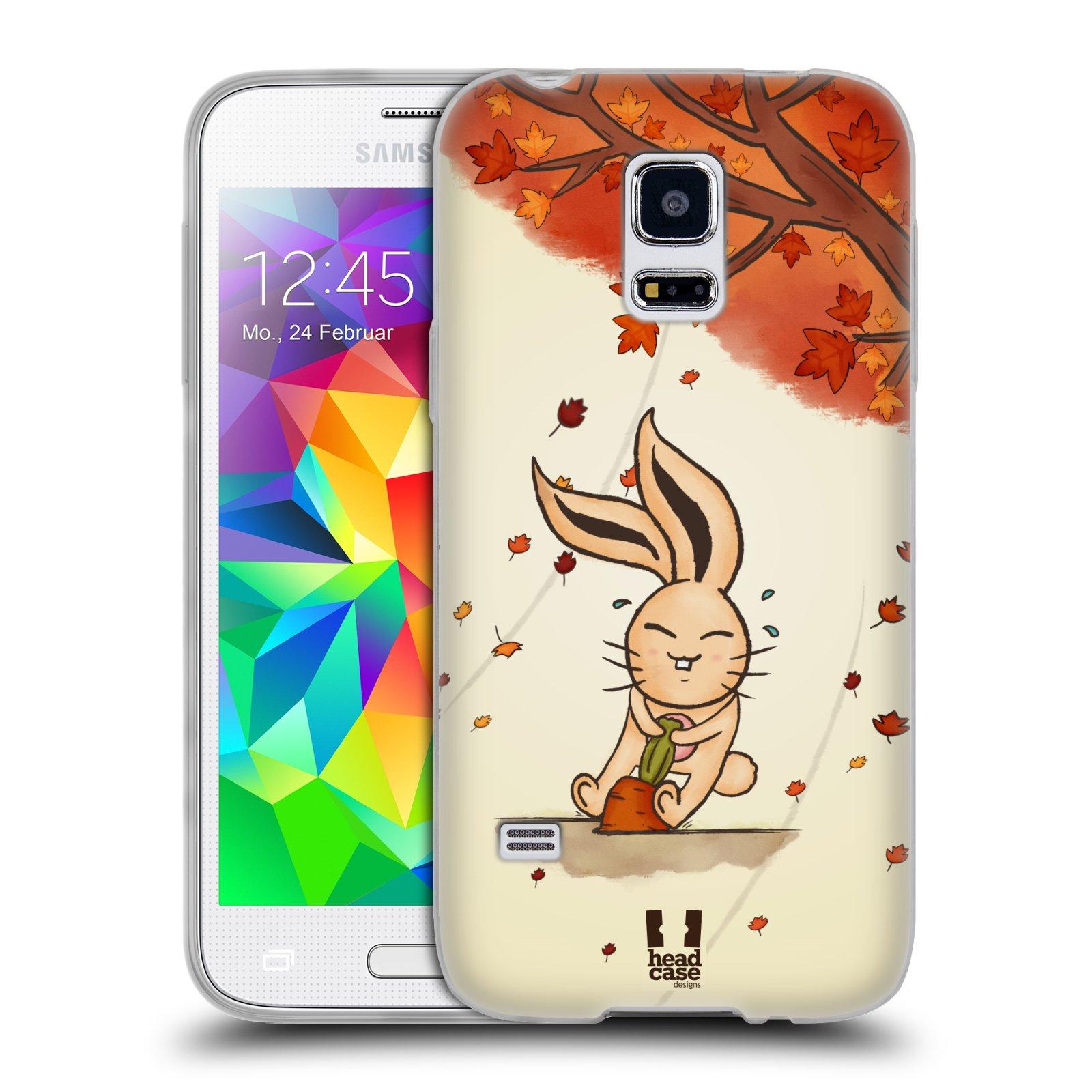 HEAD CASE silikonový obal na mobil Samsung Galaxy S5 MINI vzor podzimní zvířátka zajíček a mrkev
