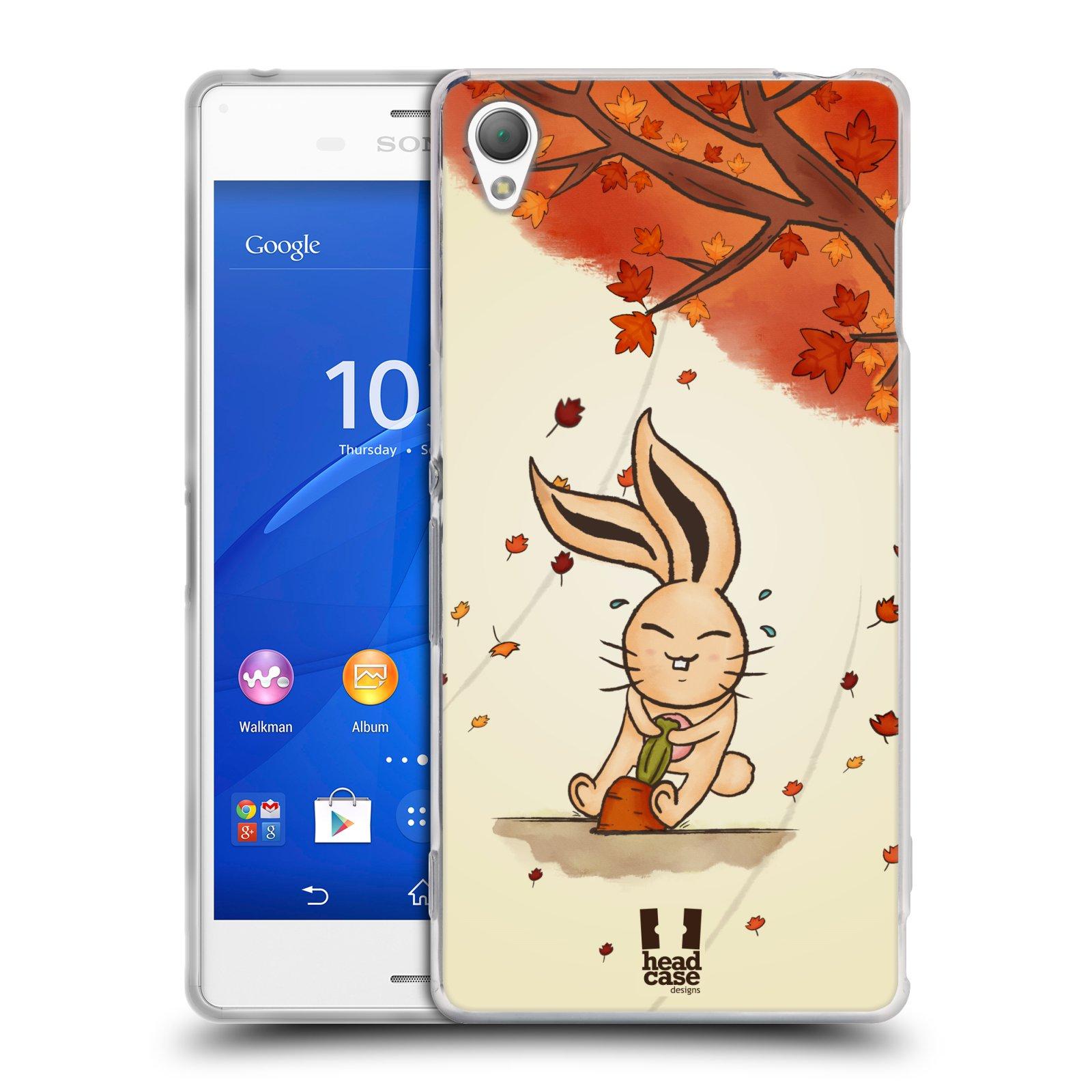 HEAD CASE silikonový obal na mobil Sony Xperia Z3 vzor podzimní zvířátka zajíček a mrkev