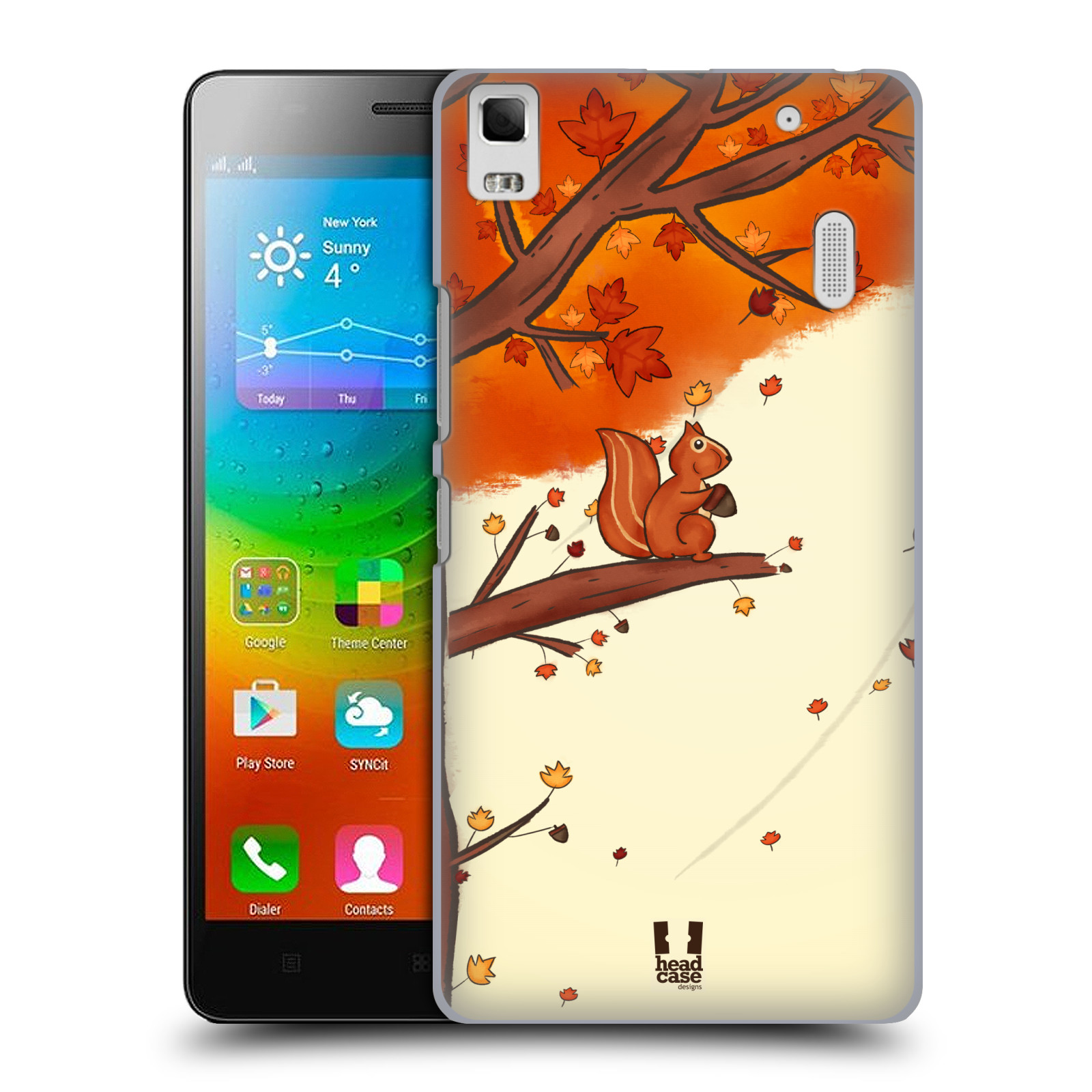 HEAD CASE pevný plastový obal na mobil LENOVO A7000 / A7000 DUAL / K3 NOTE vzor podzimní zvířátka veverka
