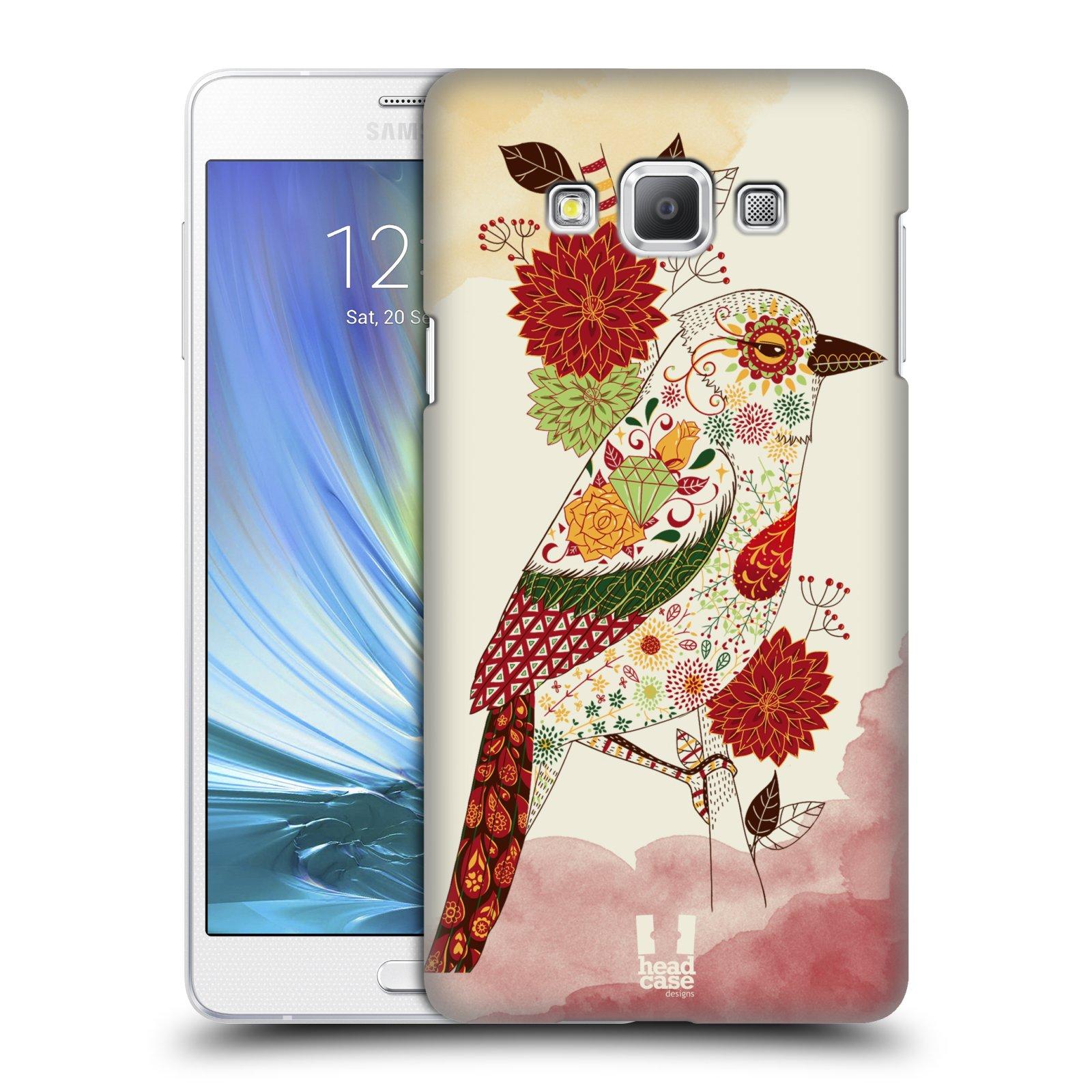 HEAD CASE plastový obal na mobil SAMSUNG GALAXY A7 vzor Květina ptáčci RUDÁ