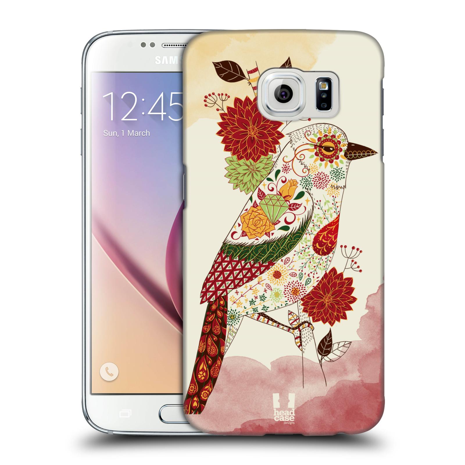 HEAD CASE plastový obal na mobil SAMSUNG Galaxy S6 (G9200, G920F) vzor Květina ptáčci RUDÁ