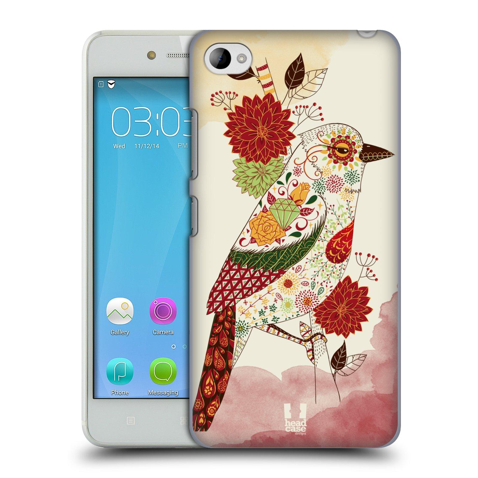 HEAD CASE pevný plastový obal na mobil LENOVO S90 vzor Květina ptáčci RUDÁ