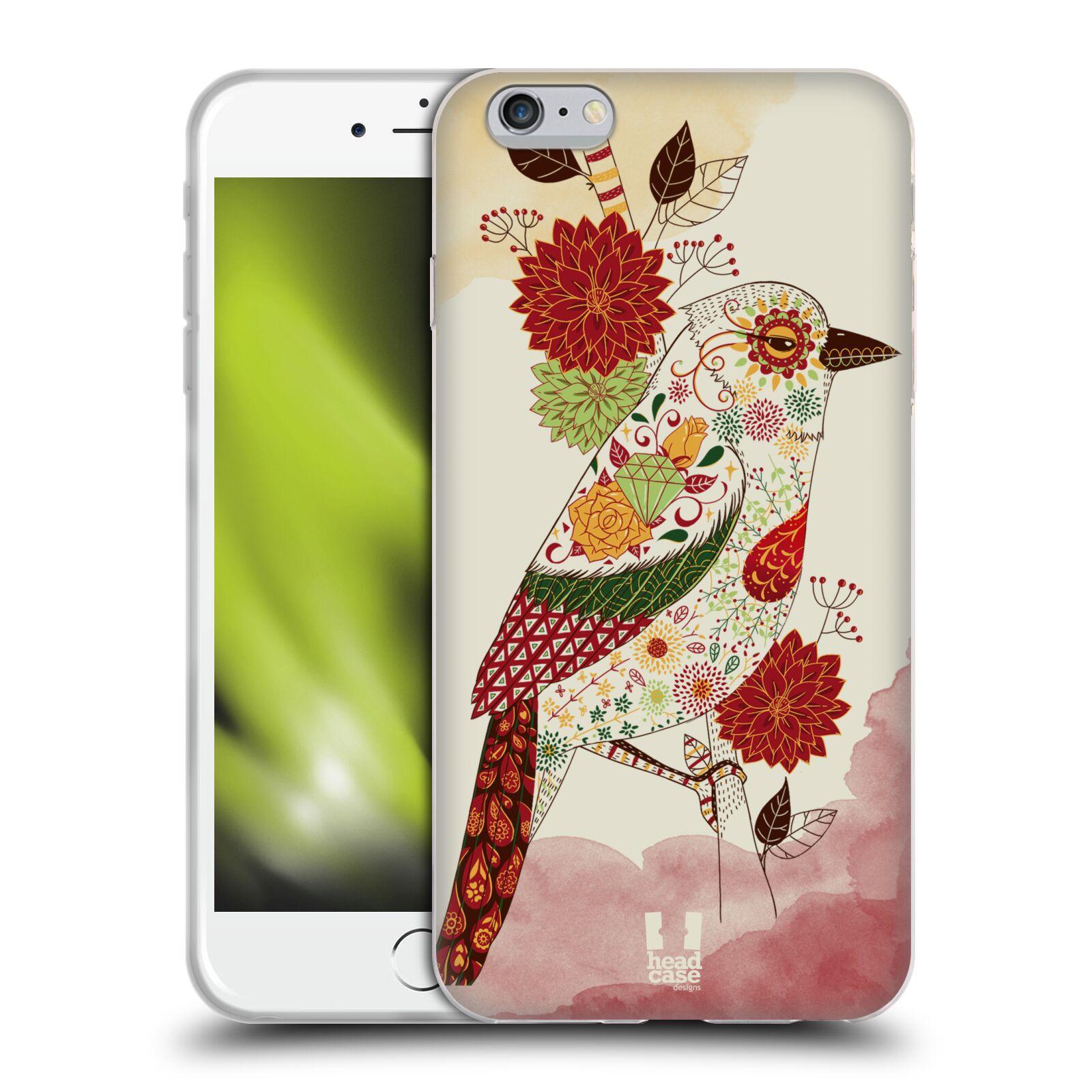 HEAD CASE silikonový obal na mobil Apple Iphone 6 PLUS/ 6S PLUS vzor Květina ptáčci RUDÁ