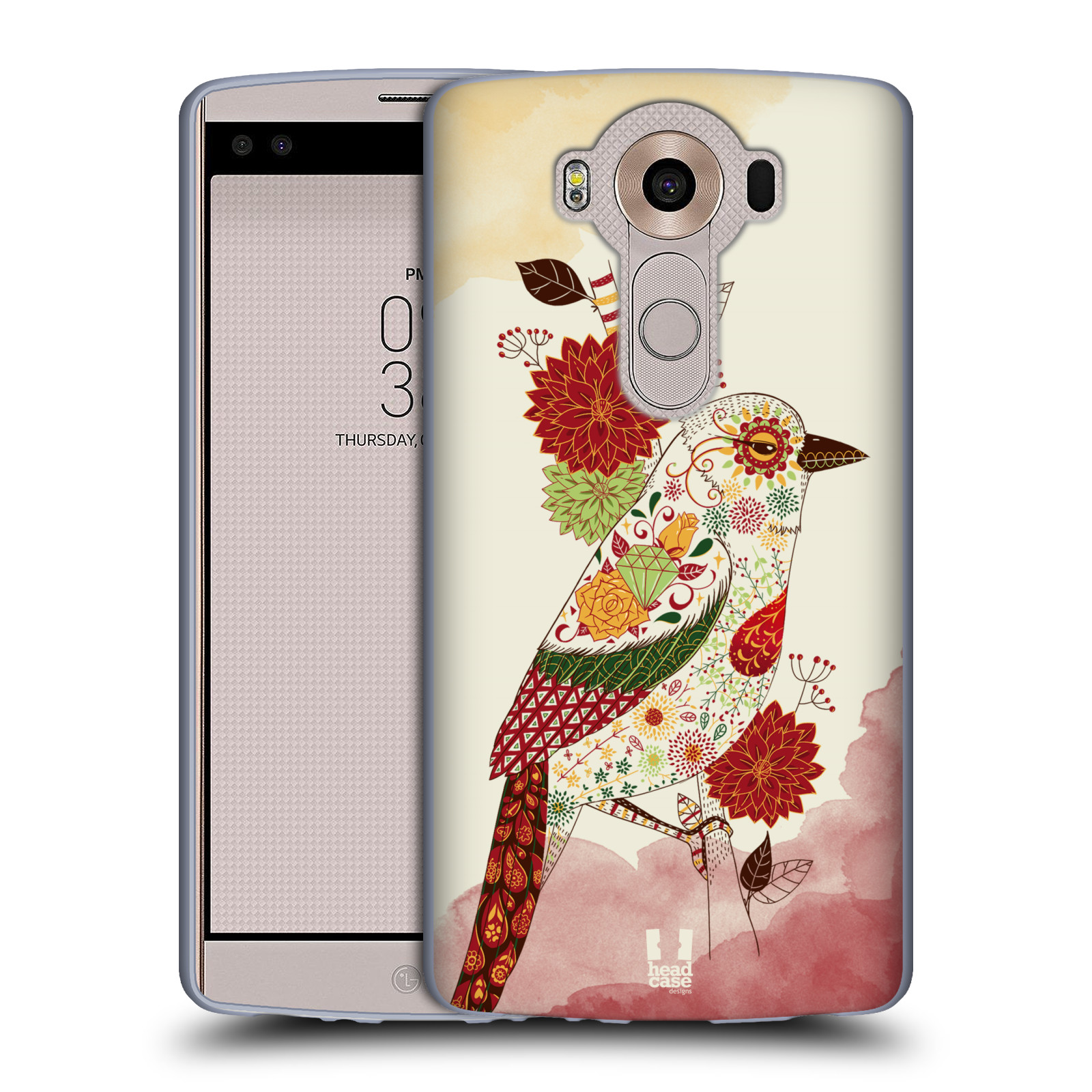 HEAD CASE silikonový obal na mobil LG V10 (H960A) vzor Květina ptáčci RUDÁ