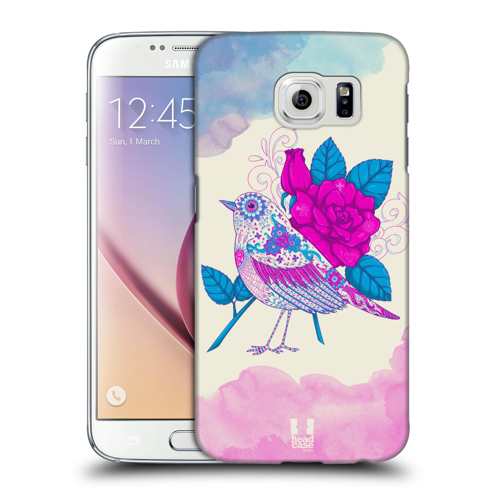 HEAD CASE plastový obal na mobil SAMSUNG Galaxy S6 (G9200, G920F) vzor Květina ptáčci FIALOVÁ