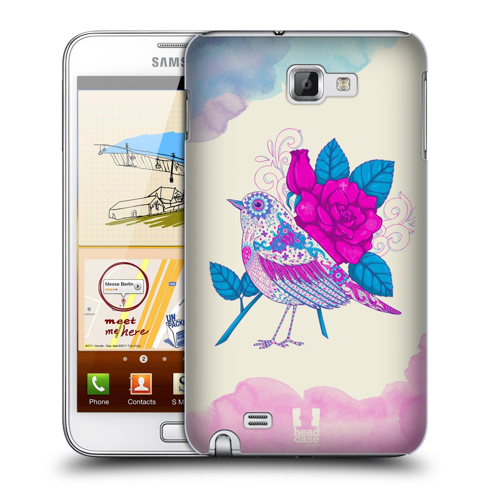 HEAD CASE plastový obal na mobil SAMSUNG Galaxy Note N7000 (i9220) vzor Květina ptáčci FIALOVÁ