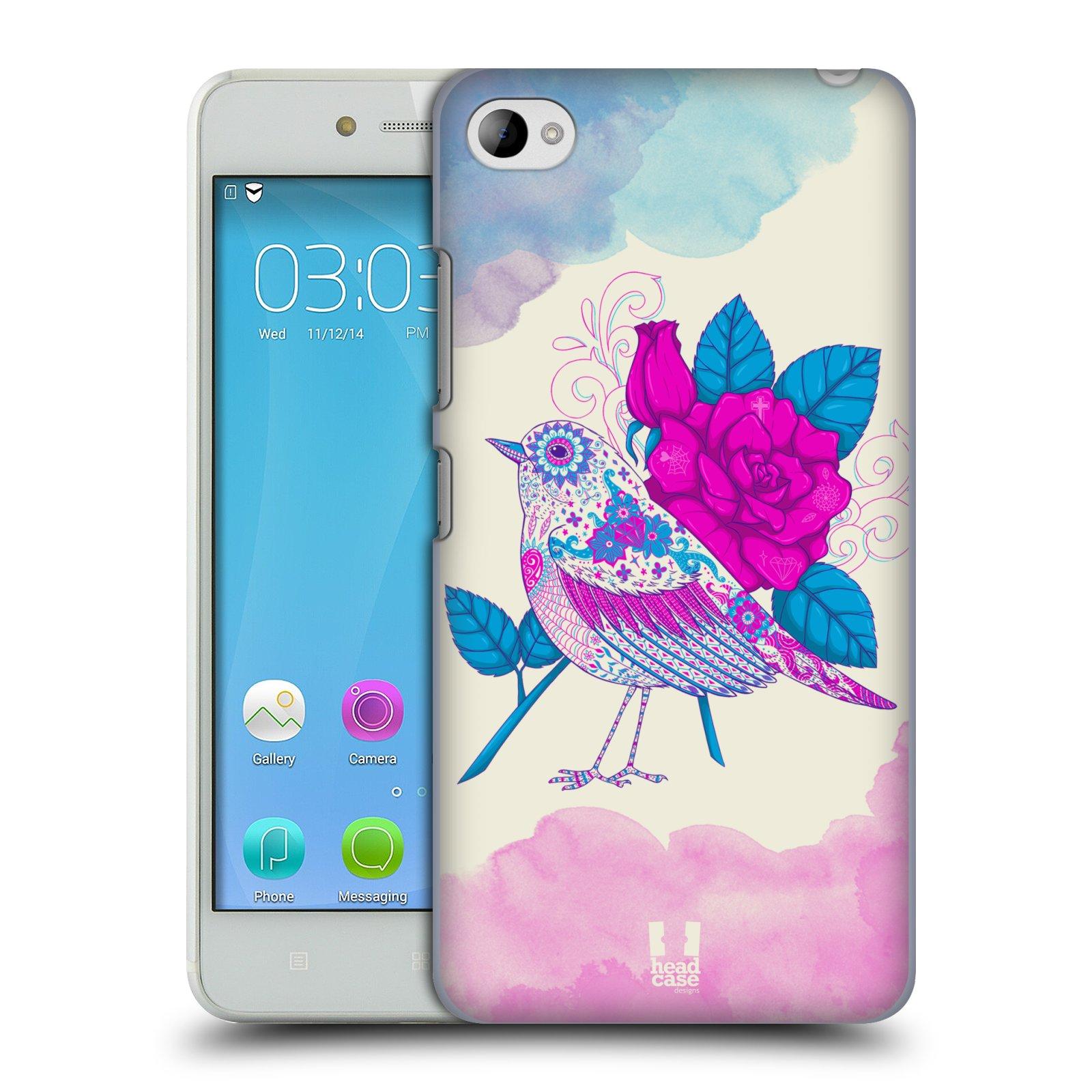 HEAD CASE pevný plastový obal na mobil LENOVO S90 vzor Květina ptáčci FIALOVÁ