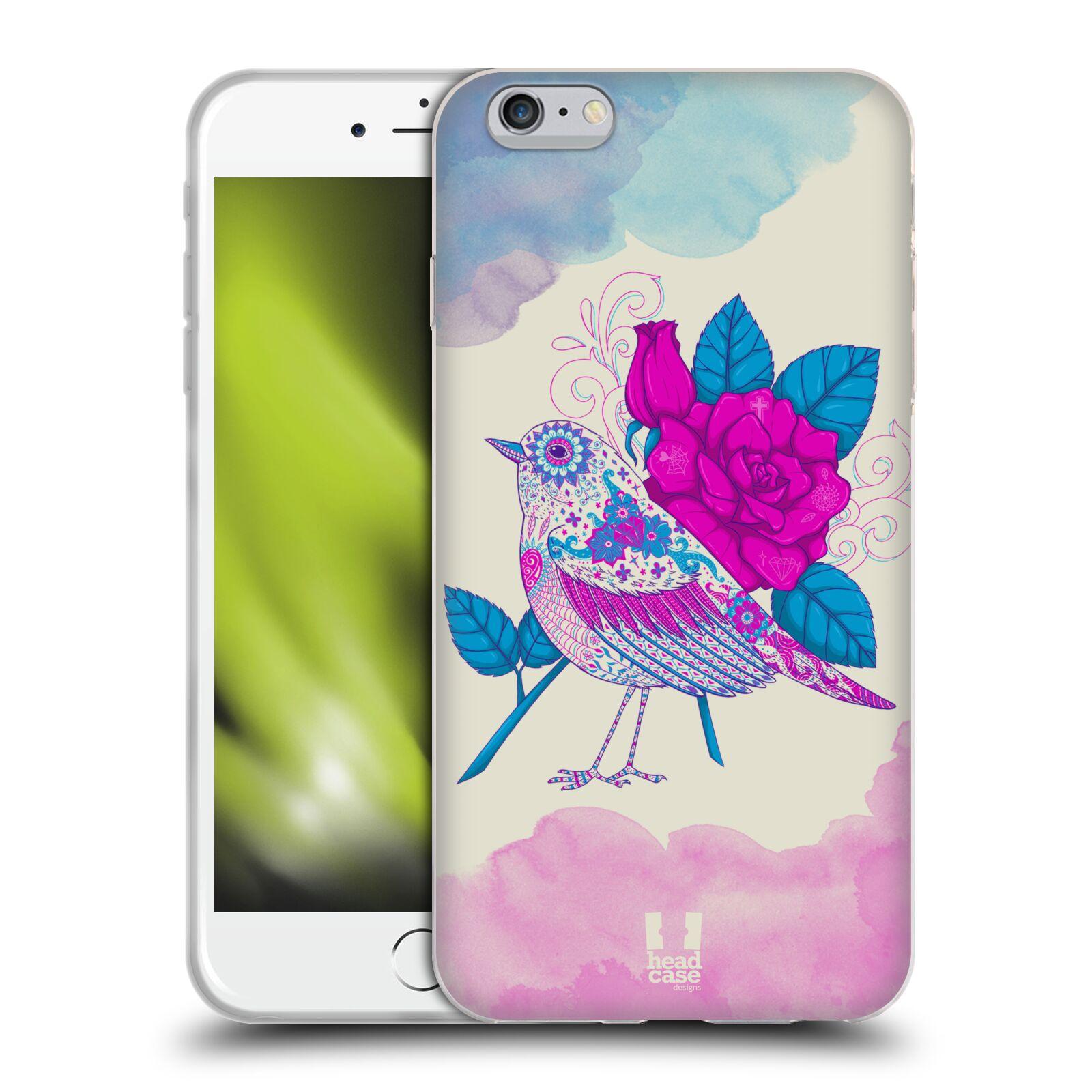HEAD CASE silikonový obal na mobil Apple Iphone 6 PLUS/ 6S PLUS vzor Květina ptáčci FIALOVÁ