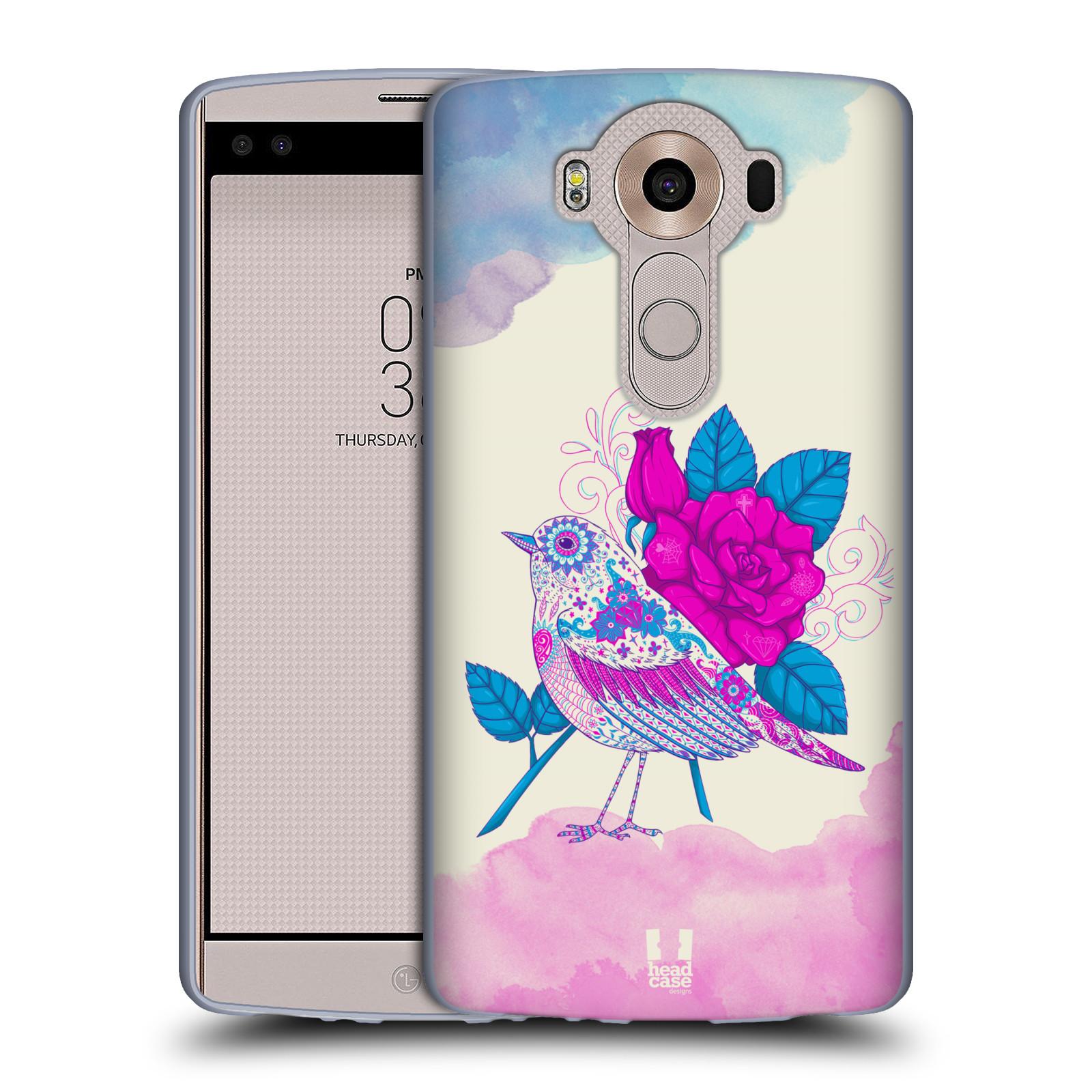 HEAD CASE silikonový obal na mobil LG V10 (H960A) vzor Květina ptáčci FIALOVÁ