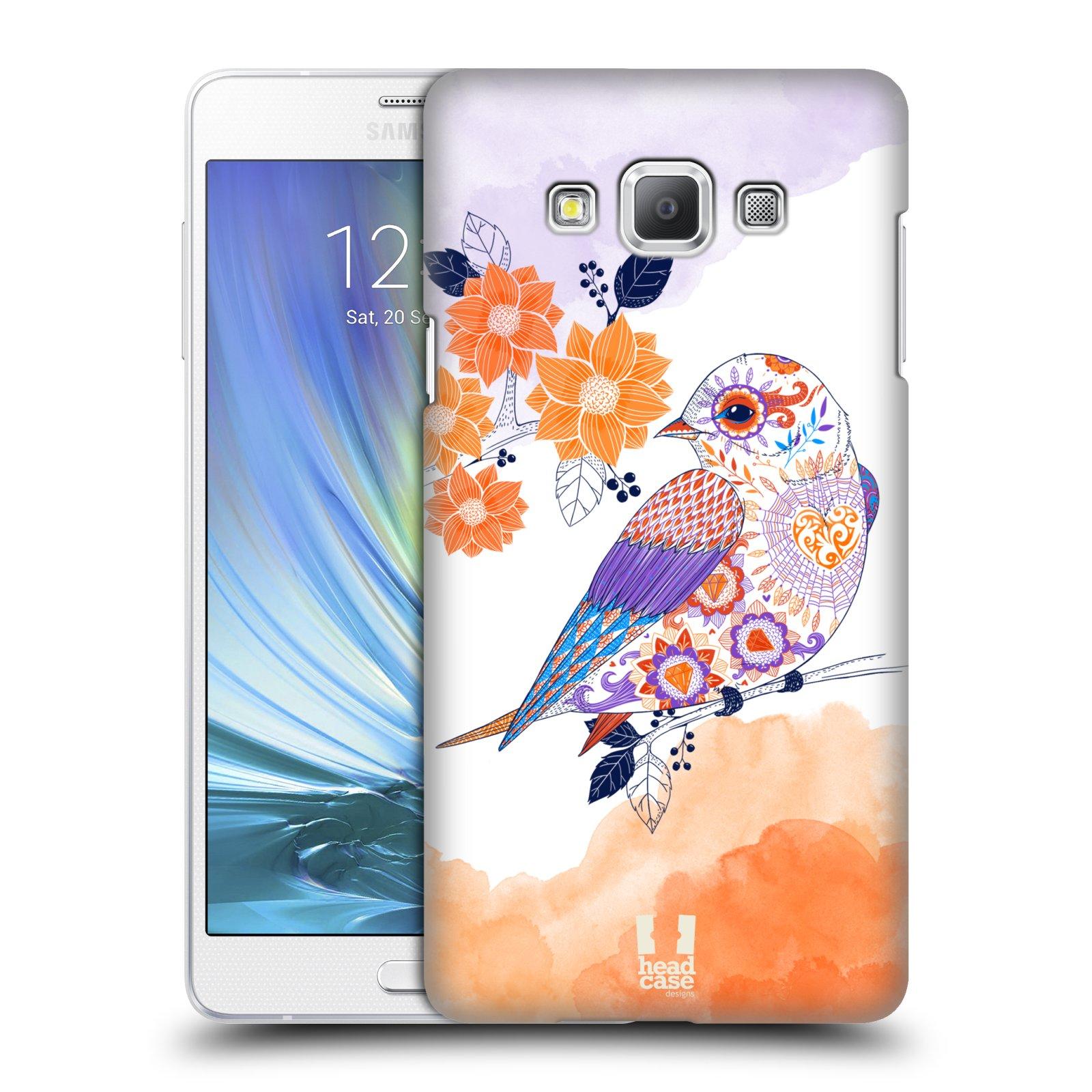 HEAD CASE plastový obal na mobil SAMSUNG GALAXY A7 vzor Květina ptáčci ORANŽOVÁ
