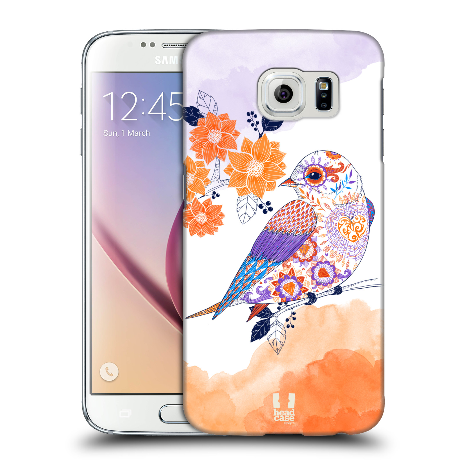 HEAD CASE plastový obal na mobil SAMSUNG Galaxy S6 (G9200, G920F) vzor Květina ptáčci ORANŽOVÁ