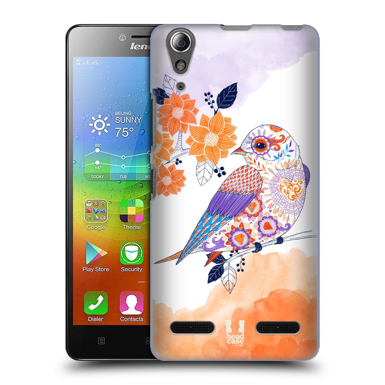 HEAD CASE pevný plastový obal na mobil LENOVO A6000   A6000 PLUS vzor  Květina ptáčci ORANŽOVÁ 529691b469d