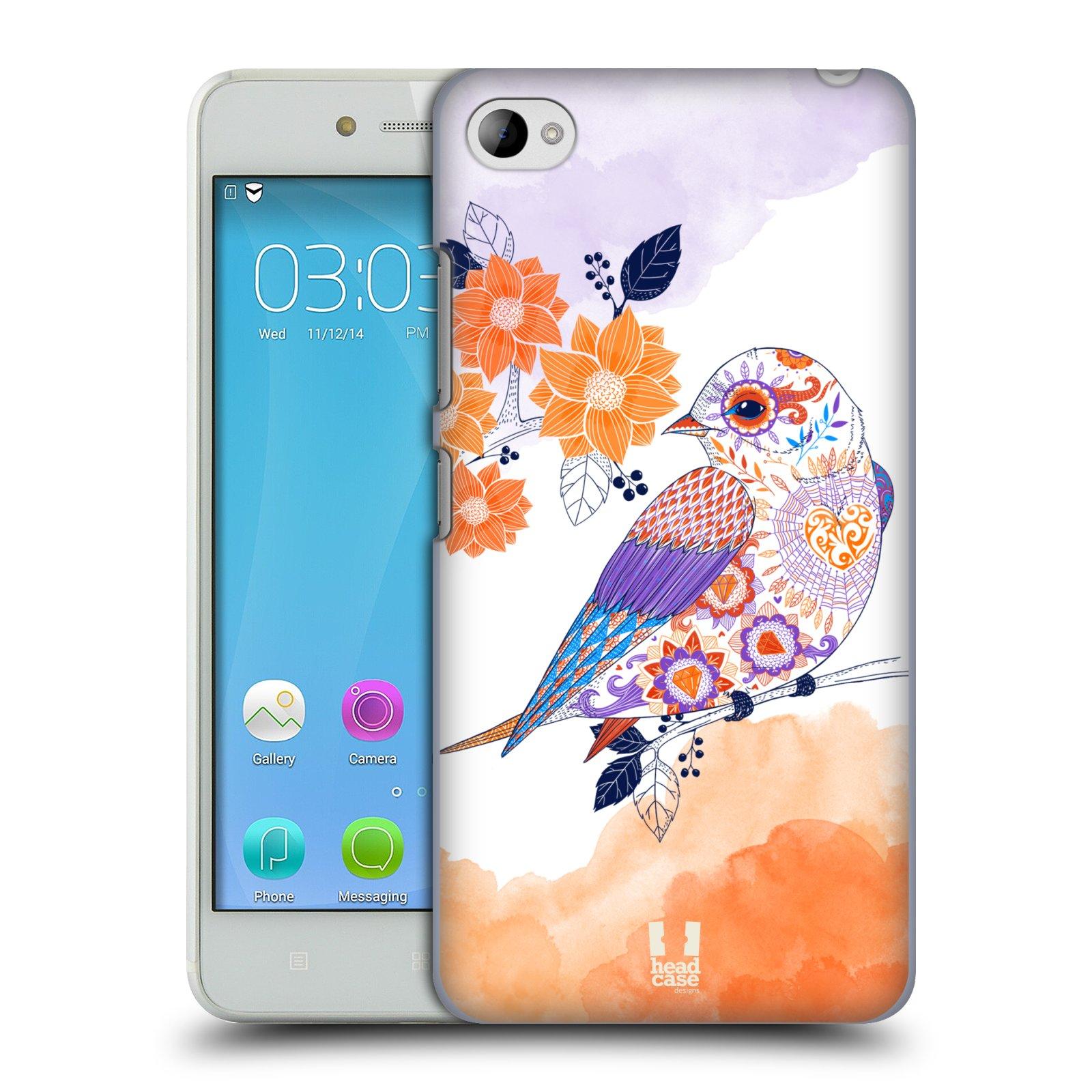 HEAD CASE pevný plastový obal na mobil LENOVO S90 vzor Květina ptáčci ORANŽOVÁ