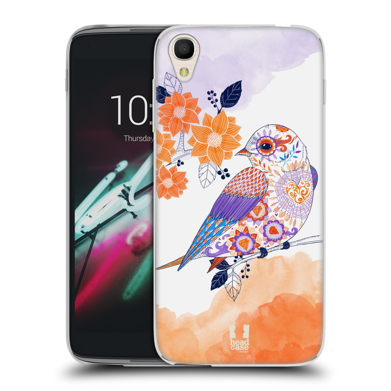 HEAD CASE silikonový obal na mobil Alcatel Idol 3 OT-6039Y (4.7) vzor Květina ptáčci ORANŽOVÁ