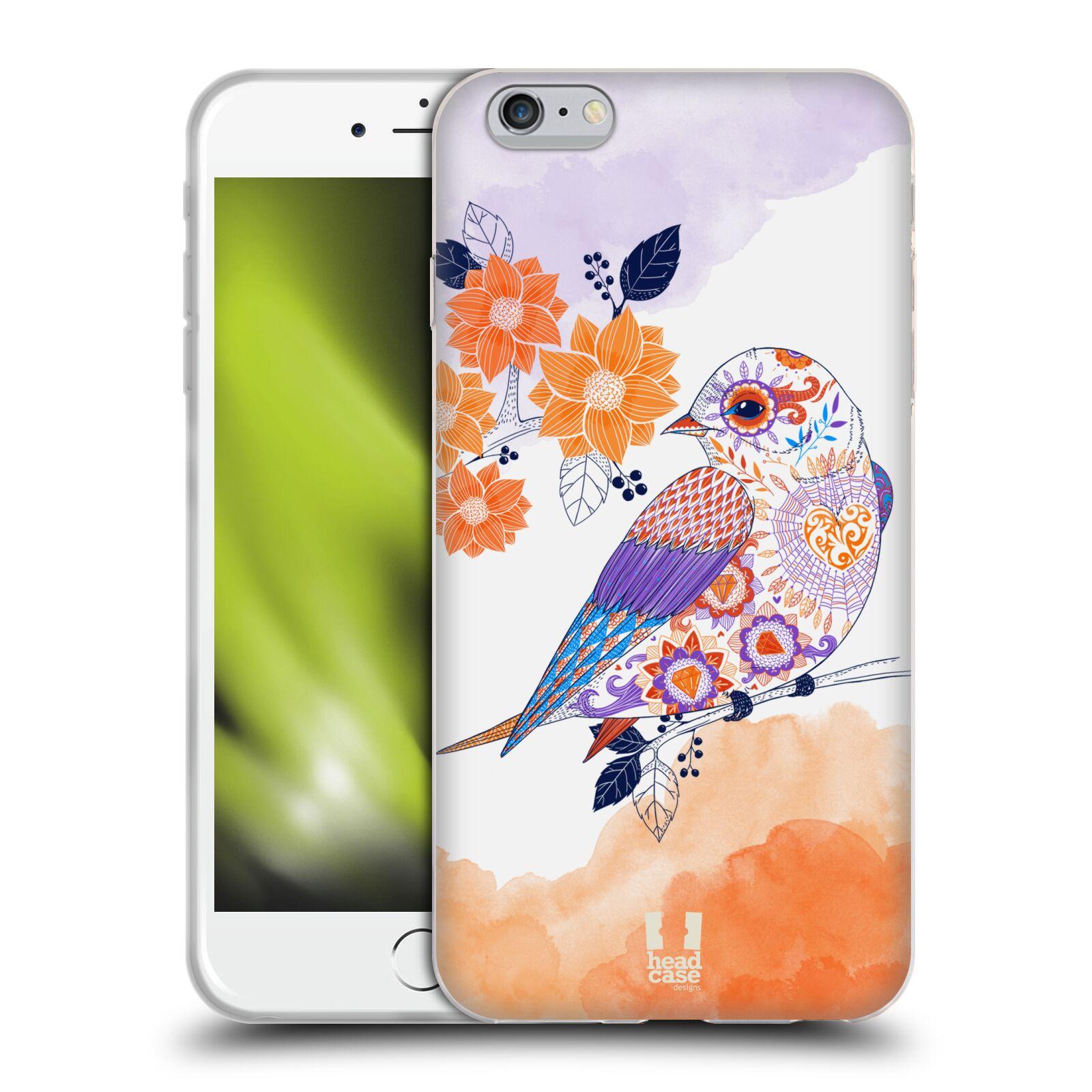 HEAD CASE silikonový obal na mobil Apple Iphone 6 PLUS/ 6S PLUS vzor Květina ptáčci ORANŽOVÁ