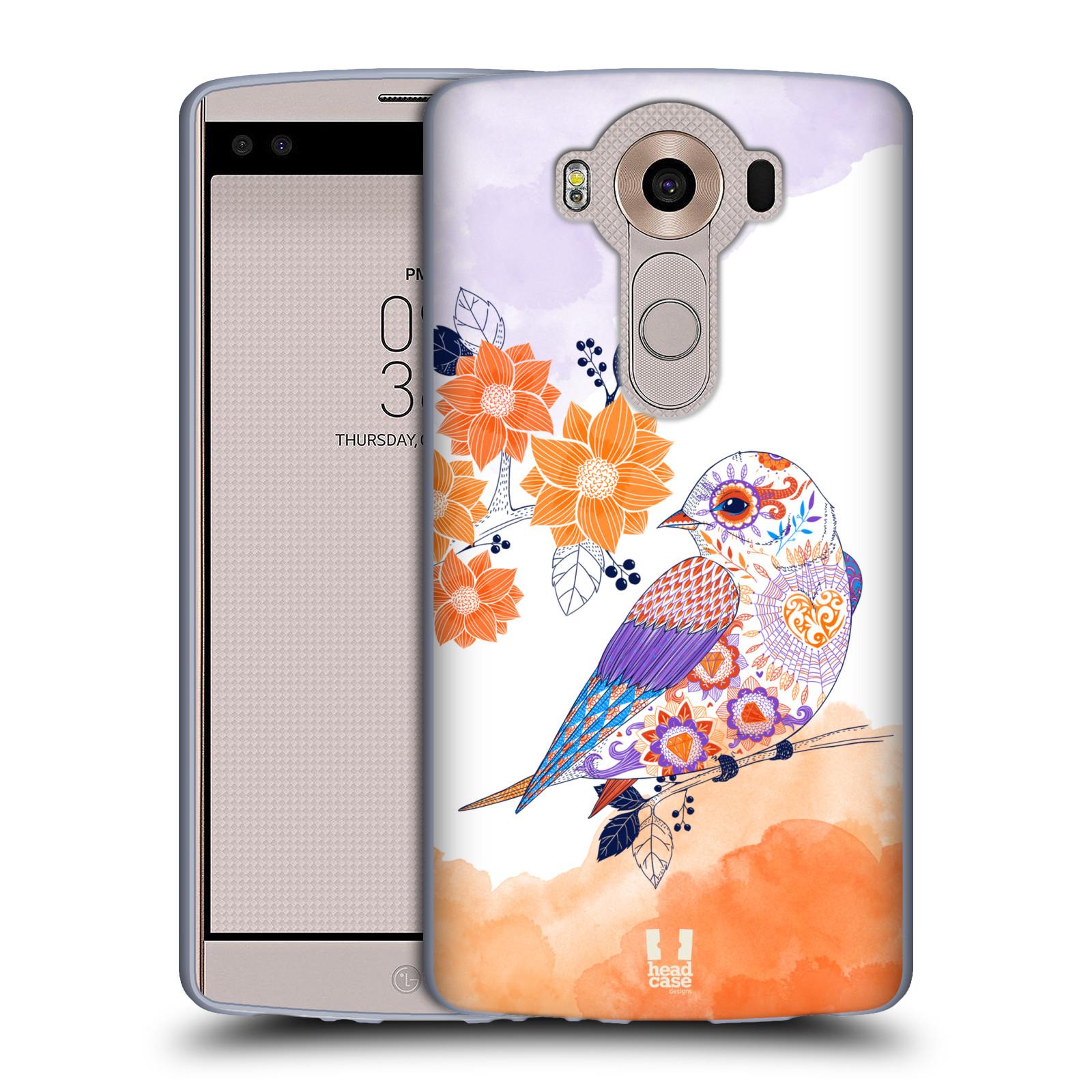 HEAD CASE silikonový obal na mobil LG V10 (H960A) vzor Květina ptáčci ORANŽOVÁ