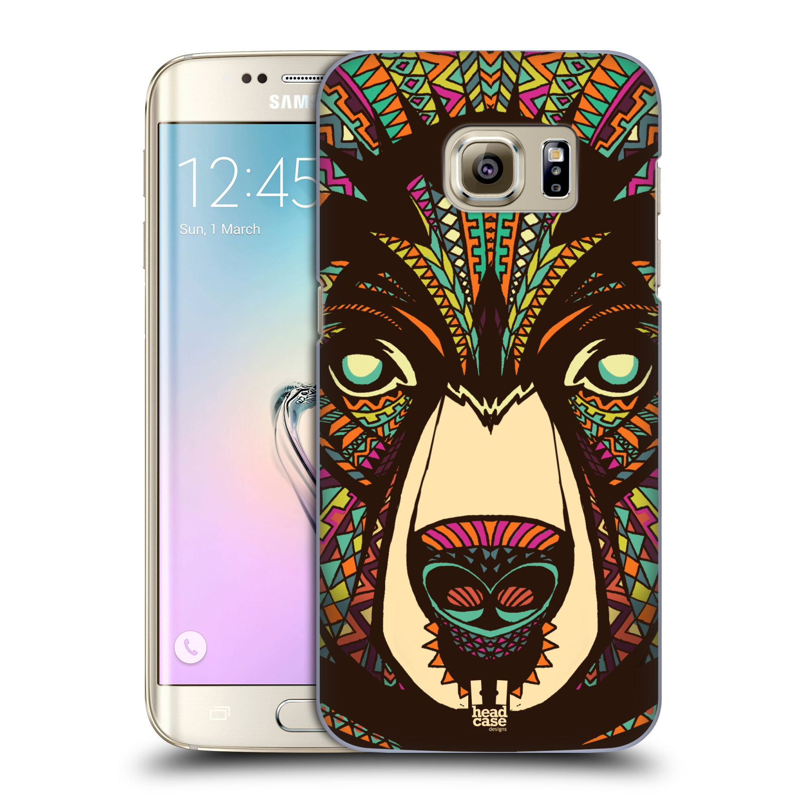 HEAD CASE plastový obal na mobil SAMSUNG GALAXY S7 EDGE vzor Aztécký motiv zvíře medvěd
