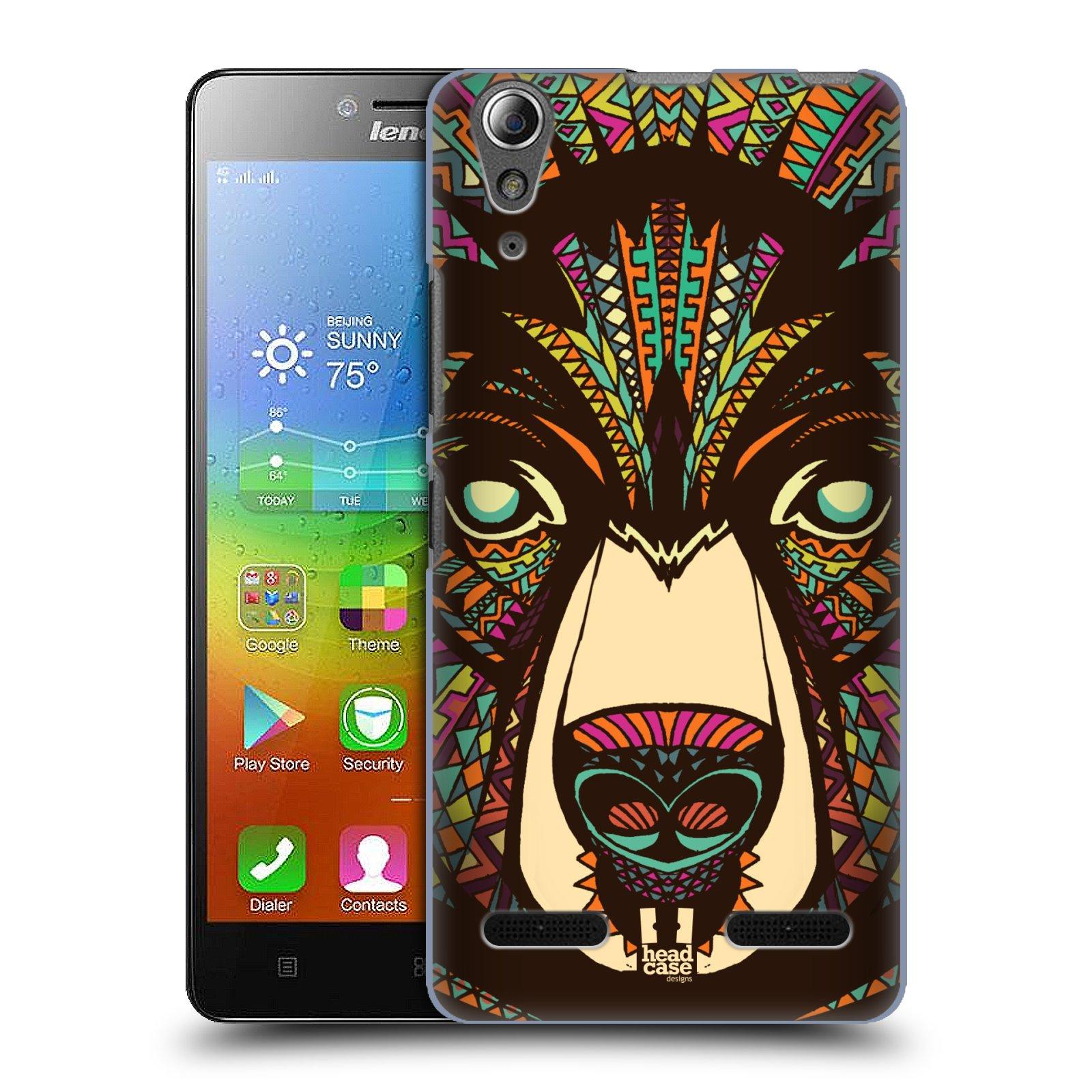 HEAD CASE pevný plastový obal na mobil LENOVO A6000 / A6000 PLUS vzor Aztécký motiv zvíře medvěd