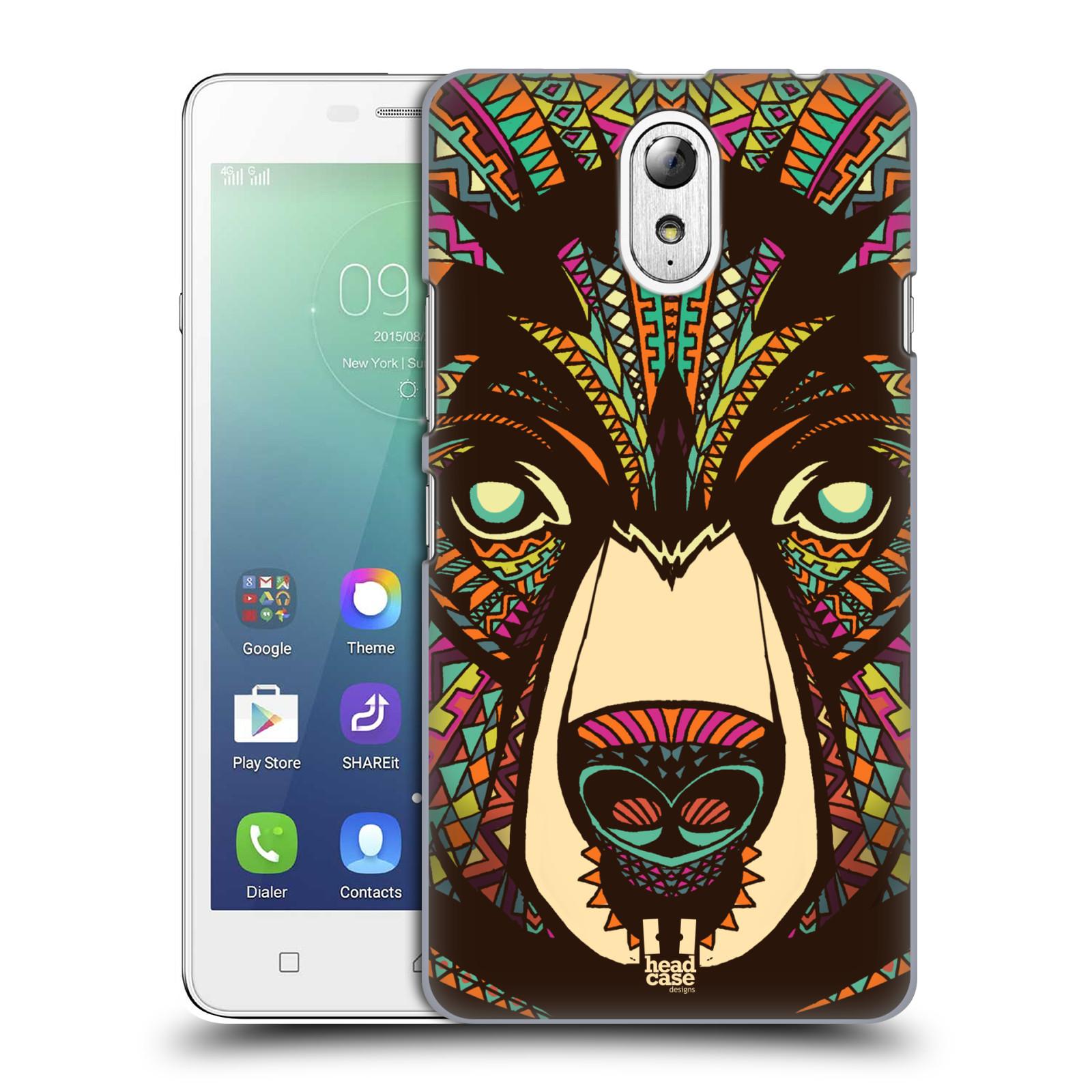 HEAD CASE pevný plastový obal na mobil LENOVO VIBE P1m / LENOVO VIBE p1m DUAL SIM vzor Aztécký motiv zvíře medvěd