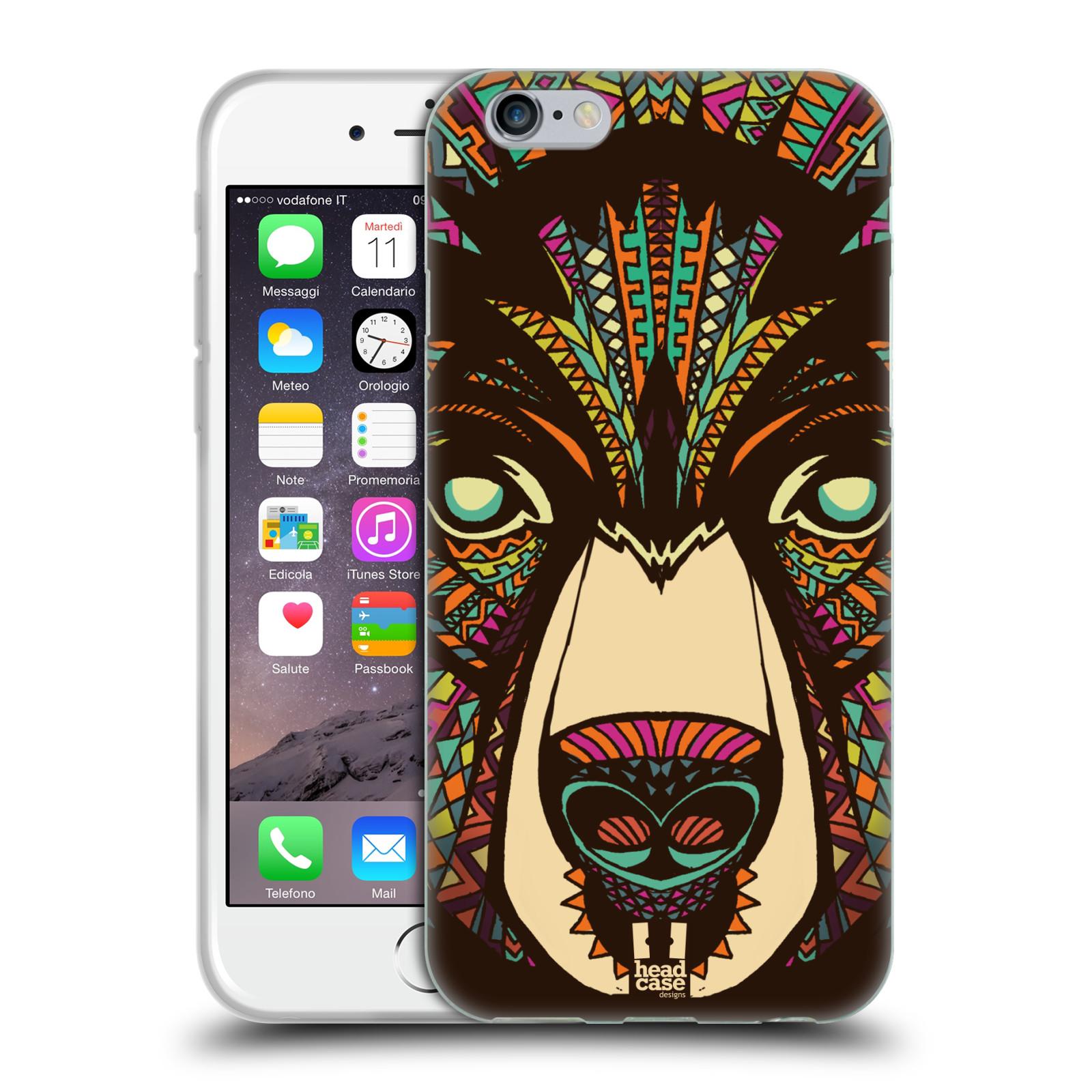 HEAD CASE silikonový obal na mobil Apple Iphone 6/6S vzor Aztécký motiv zvíře medvěd