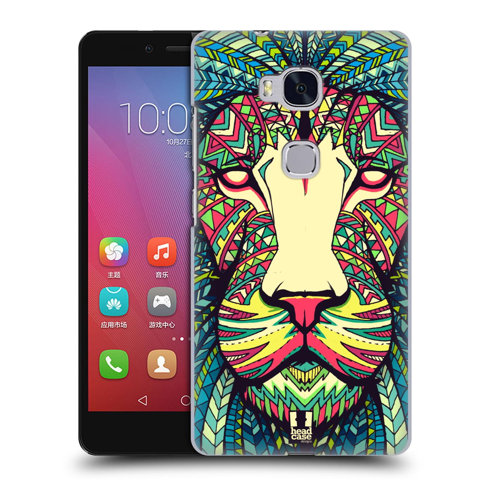 HEAD CASE pevný plastový obal na mobil HUAWEI HONOR 5X vzor Aztécký motiv zvíře lev