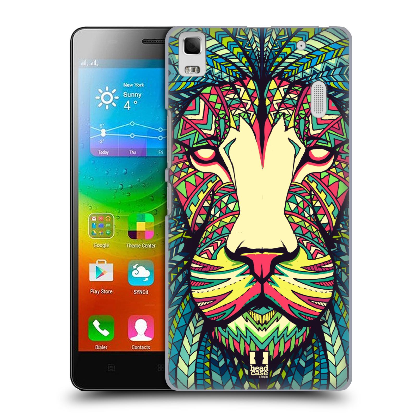 HEAD CASE pevný plastový obal na mobil LENOVO A7000 / A7000 DUAL / K3 NOTE vzor Aztécký motiv zvíře lev