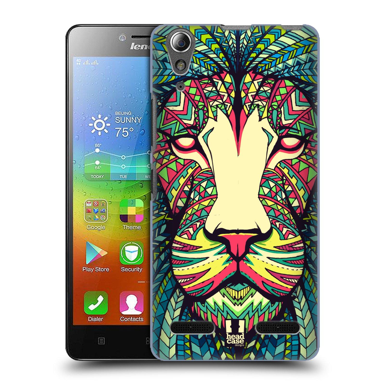 HEAD CASE pevný plastový obal na mobil LENOVO A6000 / A6000 PLUS vzor Aztécký motiv zvíře lev