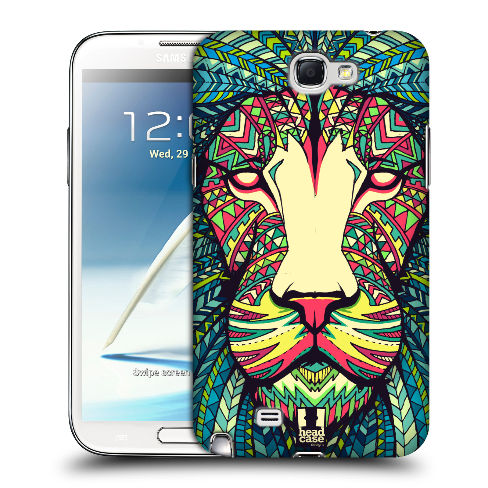 HEAD CASE AZTEC ANIMAL FACES BACK CASE COVER FOR SAMSUNG GALAXY NOTE 2 II N7100