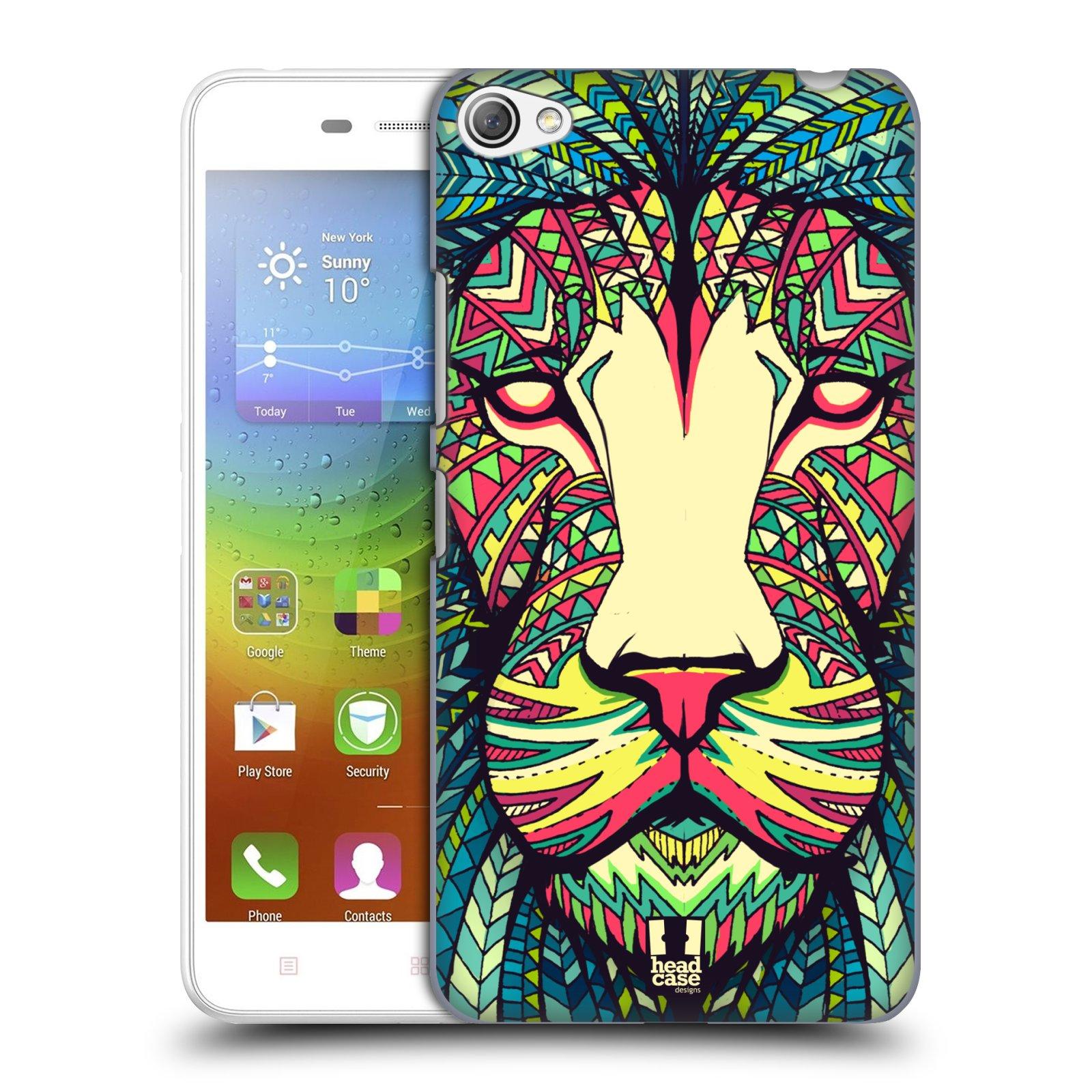 HEAD CASE pevný plastový obal na mobil LENOVO S60 / LENOVO S60 DUAL SIM vzor Aztécký motiv zvíře lev