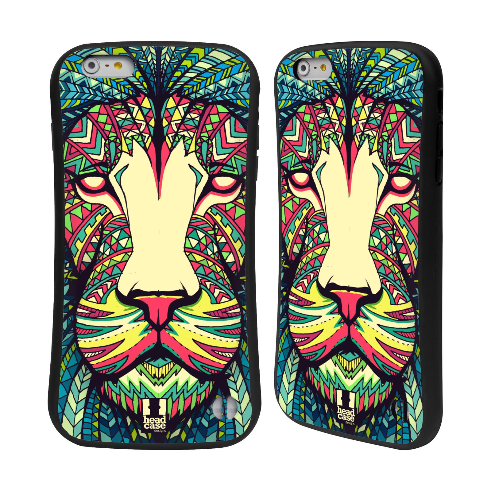 HEAD CASE silikon/plast odolný obal na mobil Apple Iphone 6 PLUS / 6S PLUS vzor Aztécký motiv zvíře lev