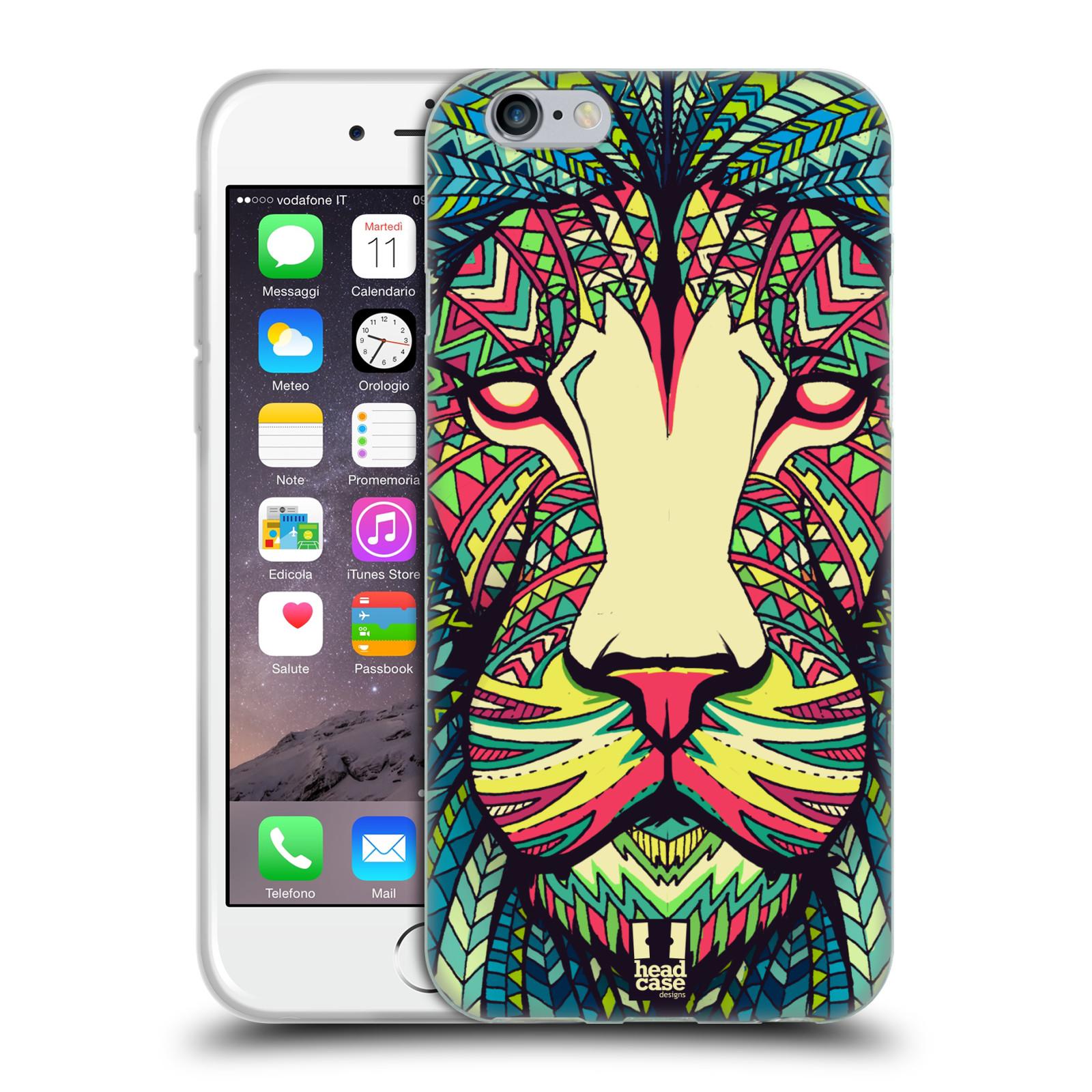 HEAD CASE silikonový obal na mobil Apple Iphone 6/6S vzor Aztécký motiv zvíře lev