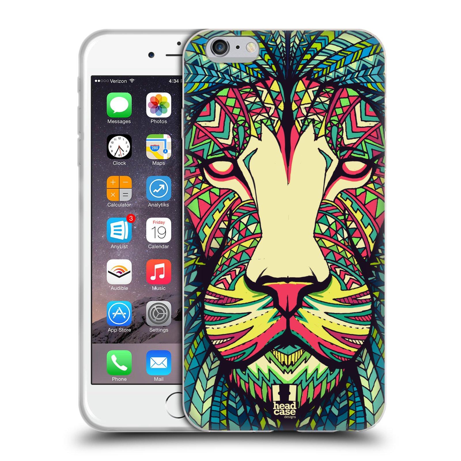 HEAD CASE silikonový obal na mobil Apple Iphone 6 PLUS/ 6S PLUS vzor Aztécký motiv zvíře lev