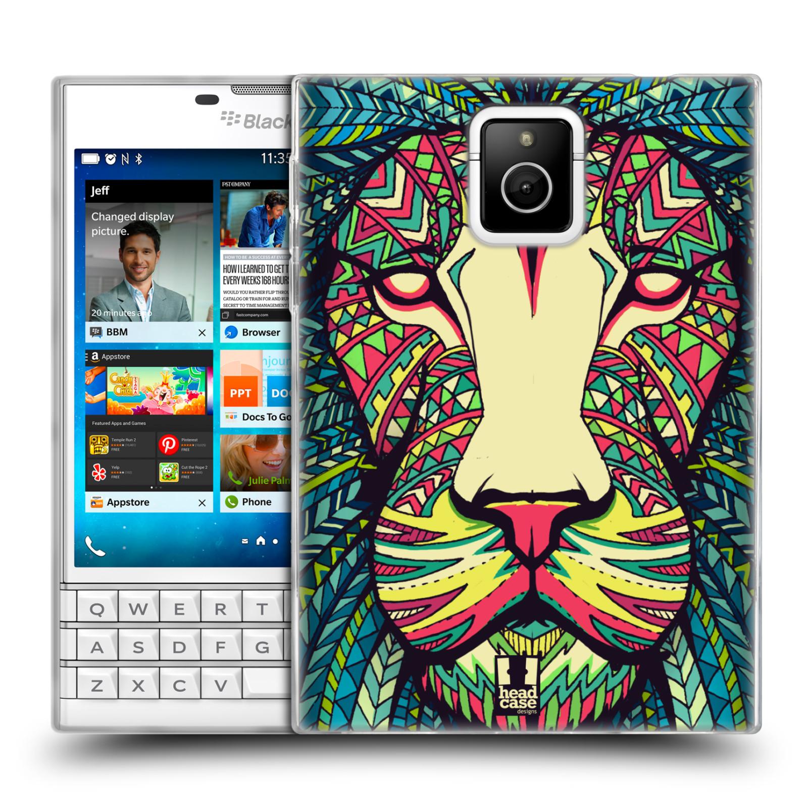 HEAD CASE silikonový obal na mobil Blackberry PASSPORT vzor Aztécký motiv zvíře lev