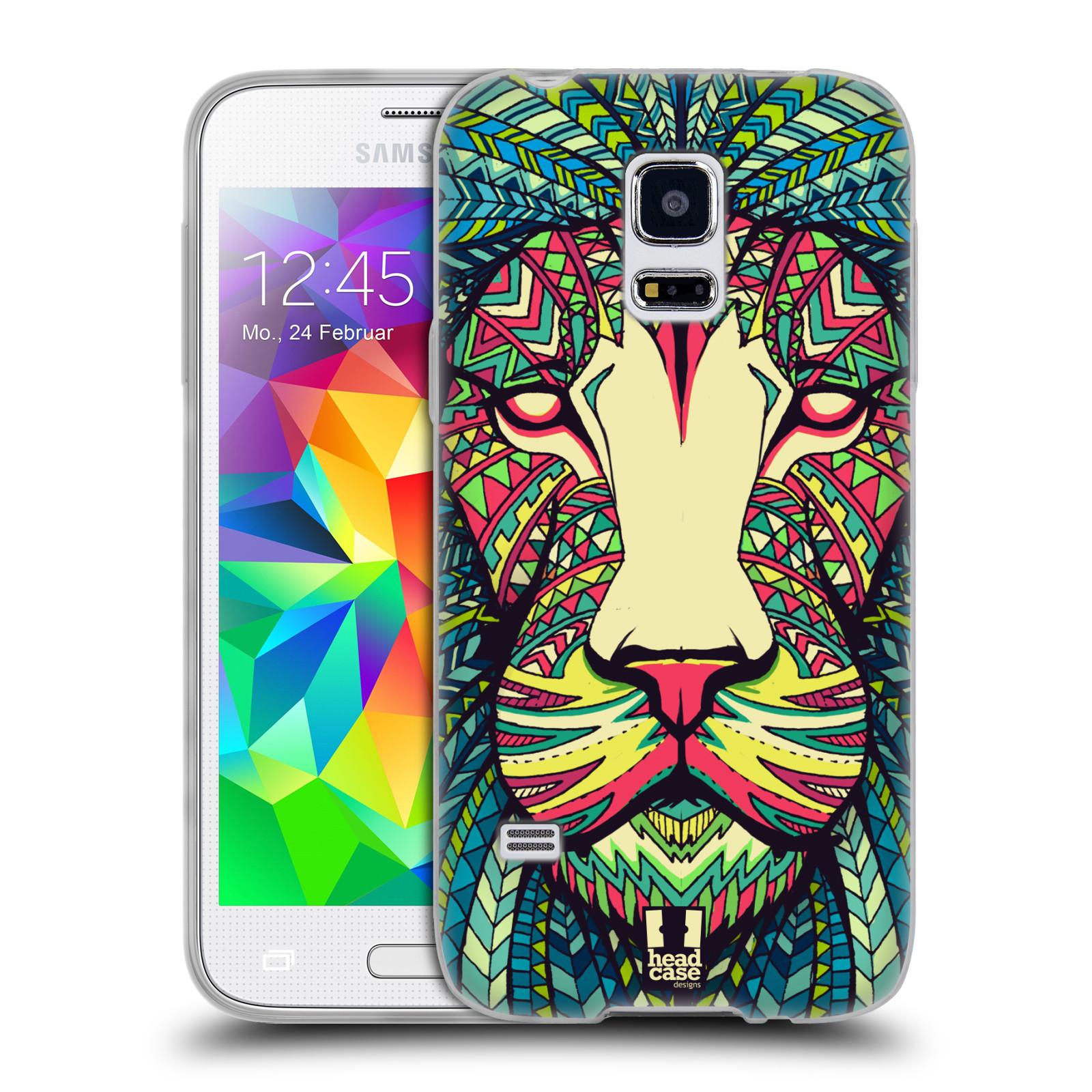 HEAD CASE silikonový obal na mobil Samsung Galaxy S5 MINI vzor Aztécký motiv zvíře lev