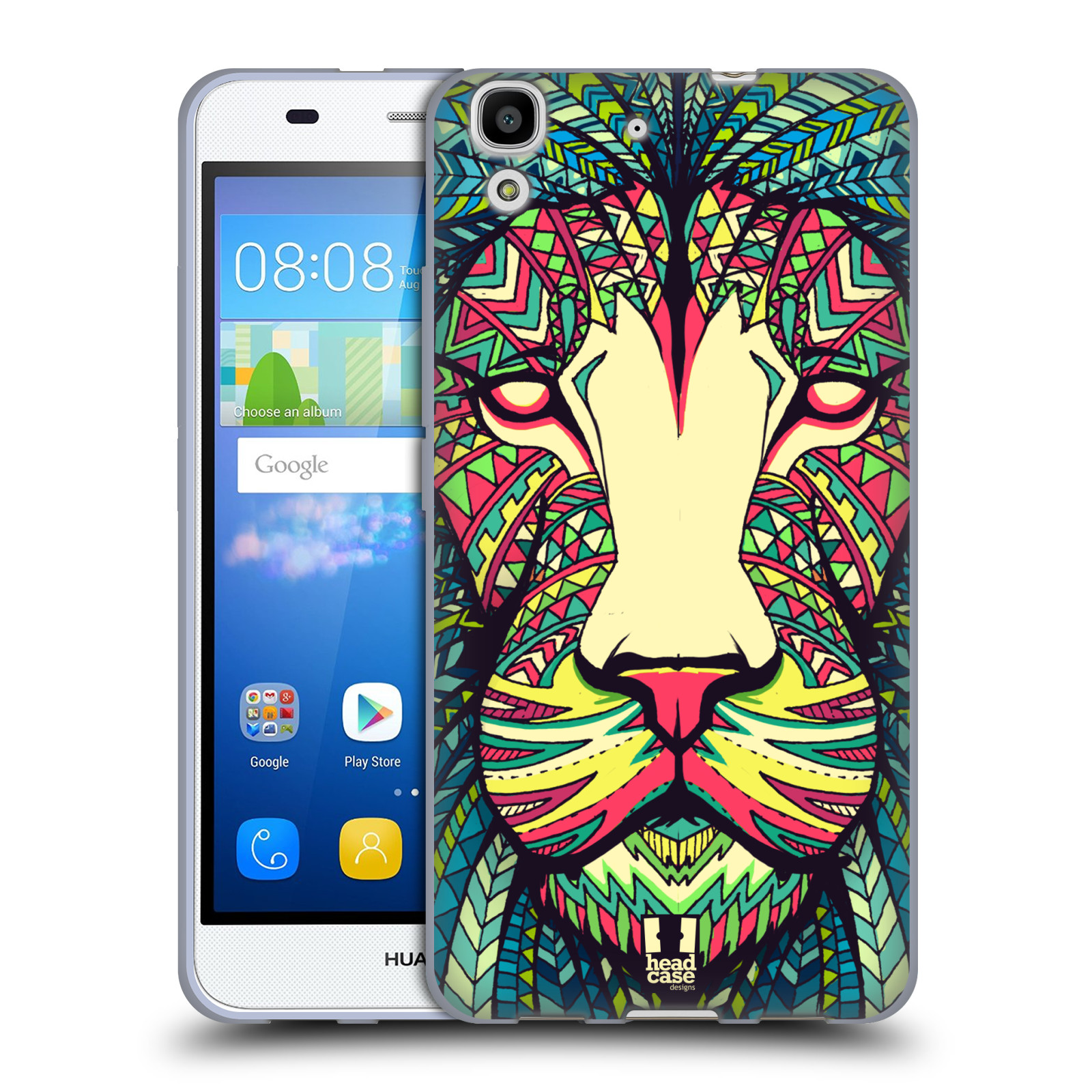 HEAD CASE silikonový obal na mobil HUAWEI Y6 vzor Aztécký motiv zvíře lev