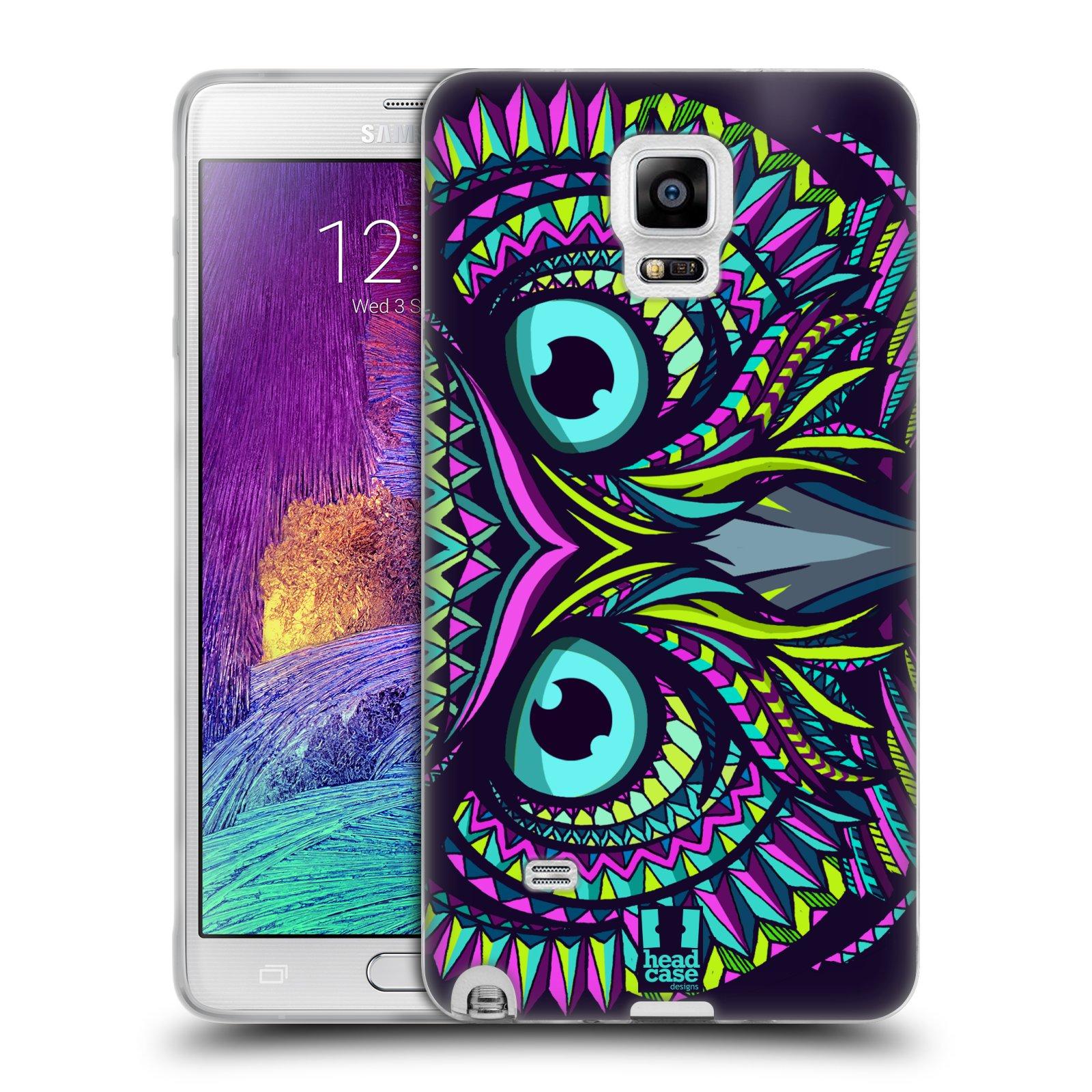 HEAD CASE silikonový obal na mobil Samsung Galaxy Note 4 (N910) vzor Aztécký motiv zvíře sova