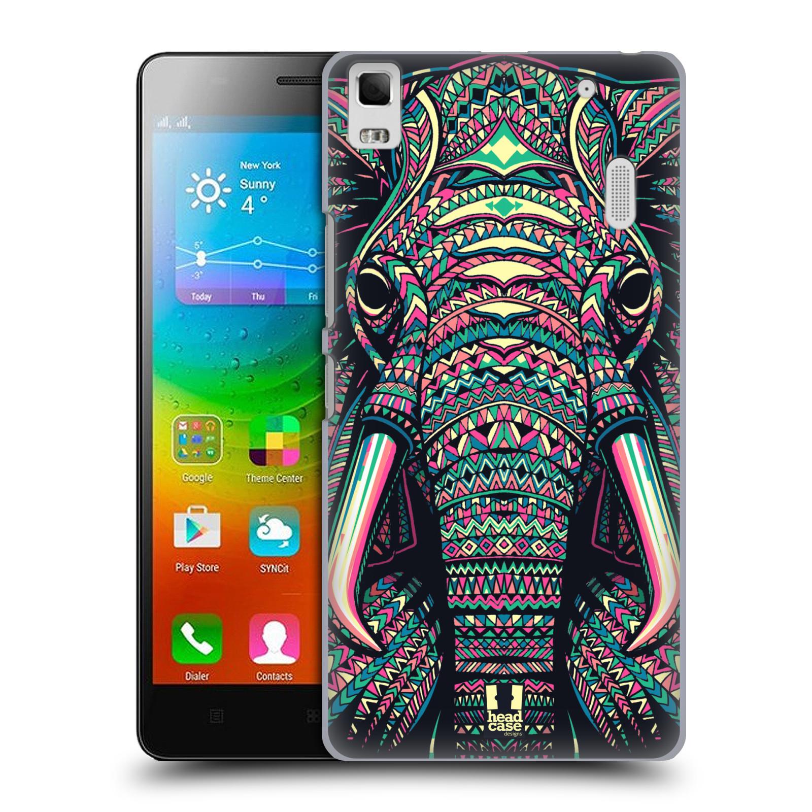 HEAD CASE pevný plastový obal na mobil LENOVO A7000 / A7000 DUAL / K3 NOTE vzor Aztécký motiv zvíře 2 slon