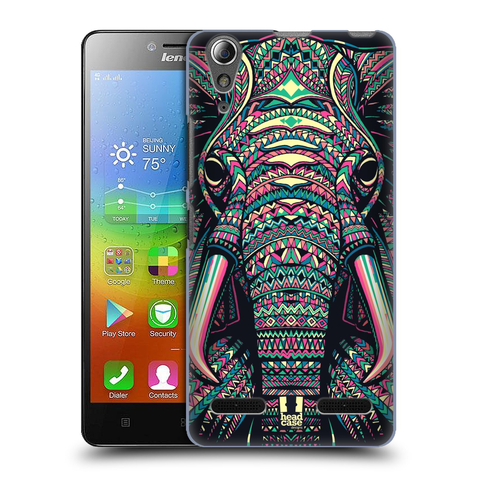 HEAD CASE pevný plastový obal na mobil LENOVO A6000 / A6000 PLUS vzor Aztécký motiv zvíře 2 slon