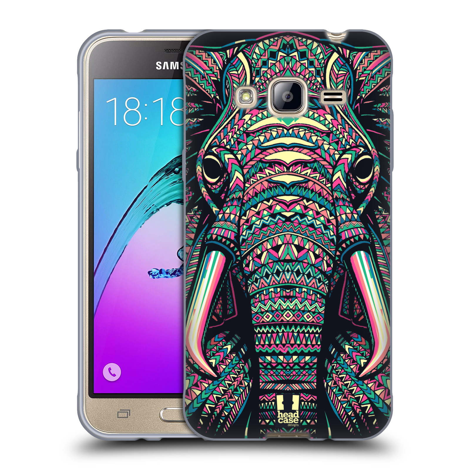 HEAD CASE silikonový obal na mobil Samsung Galaxy J3, J3 2016 vzor Aztécký motiv zvíře 2 slon