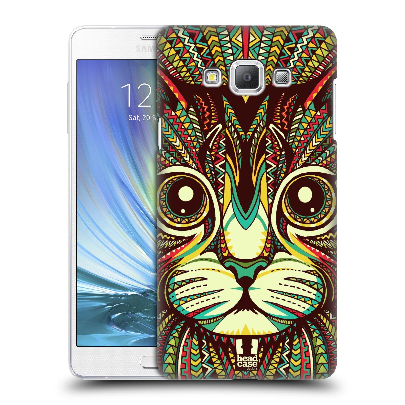 HEAD CASE plastový obal na mobil SAMSUNG GALAXY A7 vzor Aztécký motiv zvíře 2 kotě