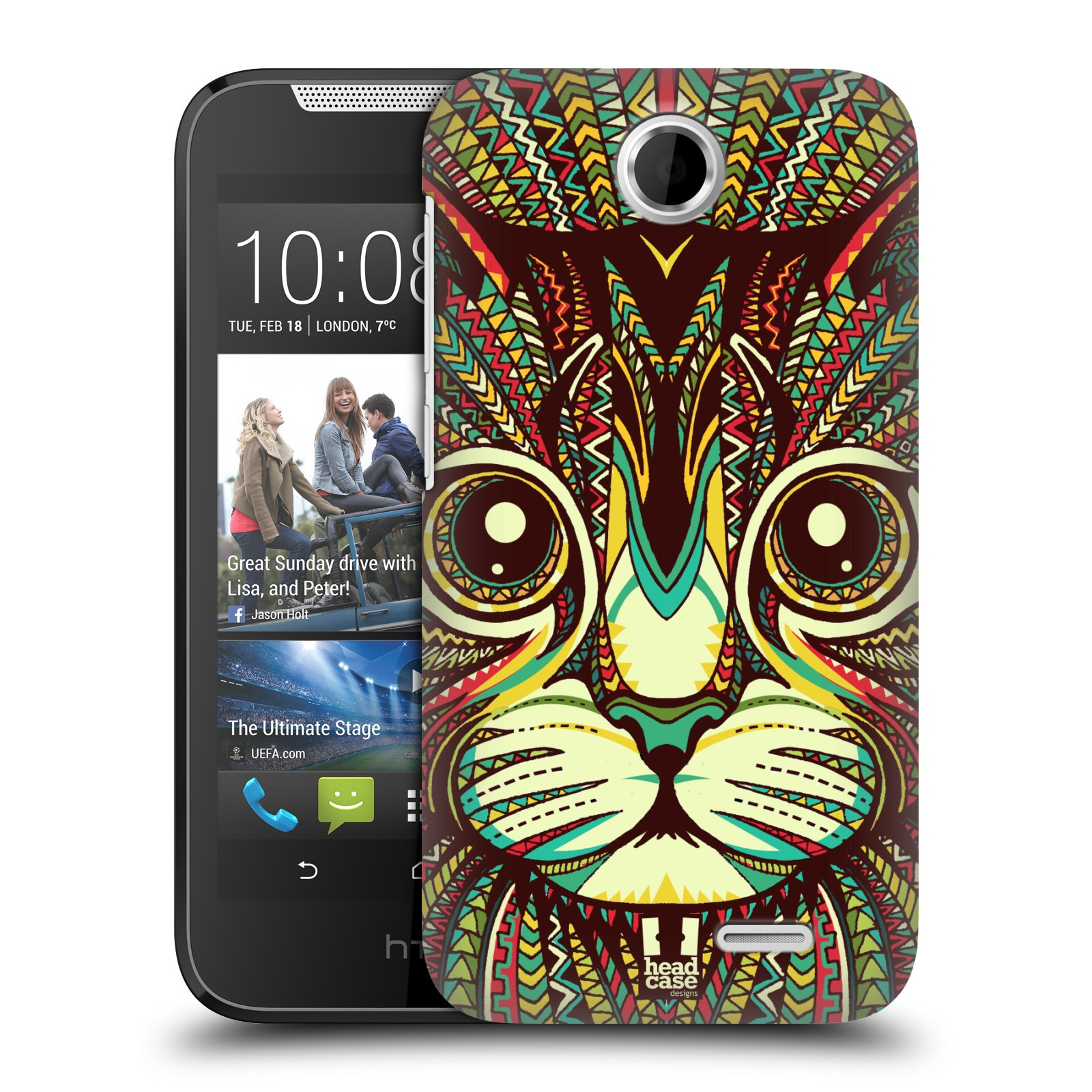 HEAD CASE plastový obal na mobil HTC Desire 310 vzor Aztécký motiv zvíře 2 kotě