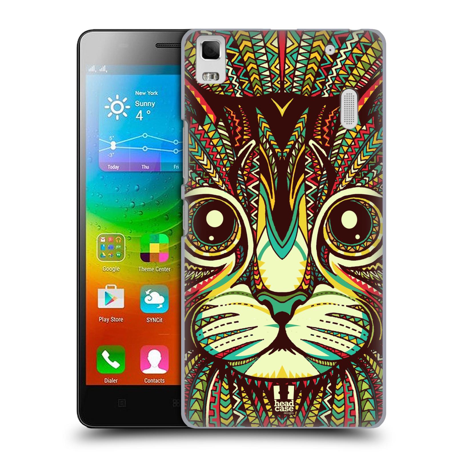 HEAD CASE pevný plastový obal na mobil LENOVO A7000 / A7000 DUAL / K3 NOTE vzor Aztécký motiv zvíře 2 kotě
