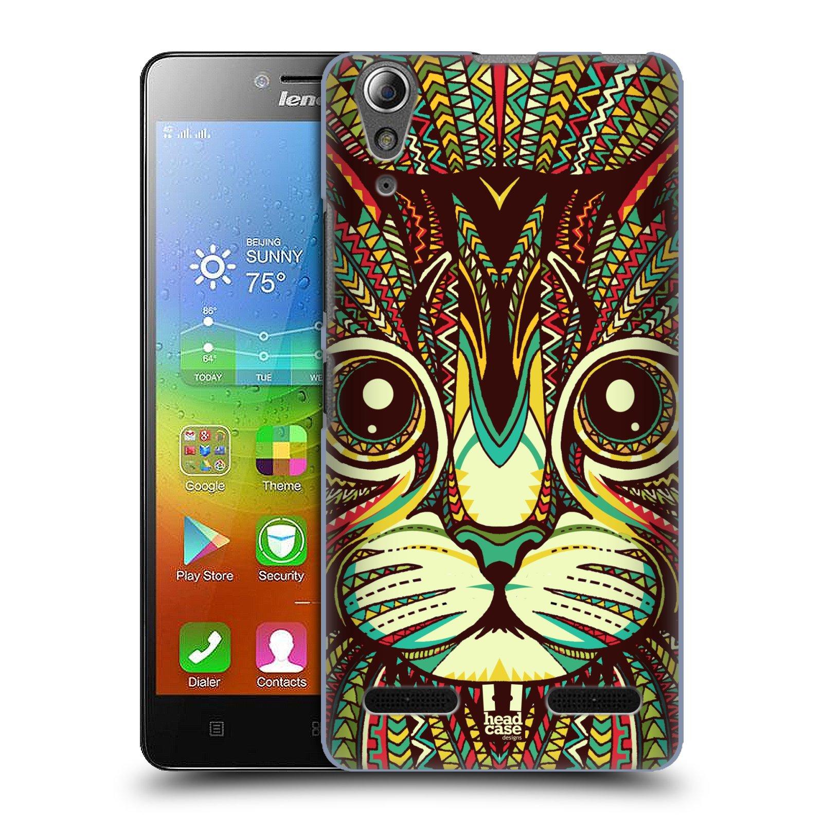 HEAD CASE pevný plastový obal na mobil LENOVO A6000 / A6000 PLUS vzor Aztécký motiv zvíře 2 kotě