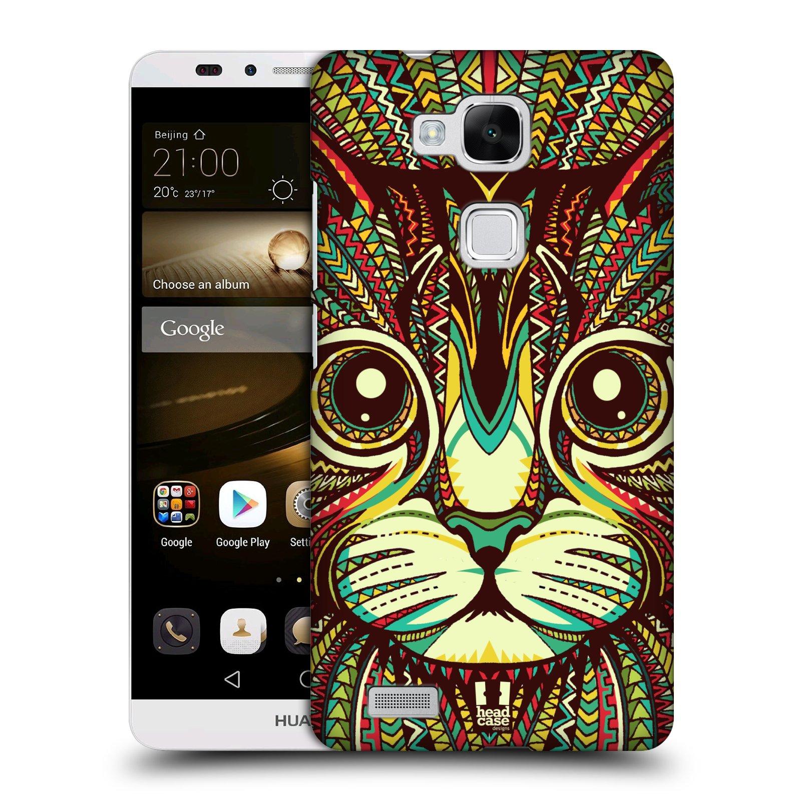 HEAD CASE plastový obal na mobil Huawei Mate 7 vzor Aztécký motiv zvíře 2 kotě