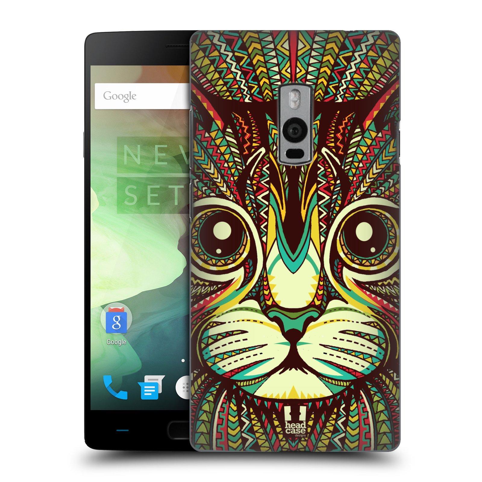 HEAD CASE pevný plastový obal na mobil OnePlus 2  ( TWO ) vzor Aztécký motiv zvíře 2 kotě