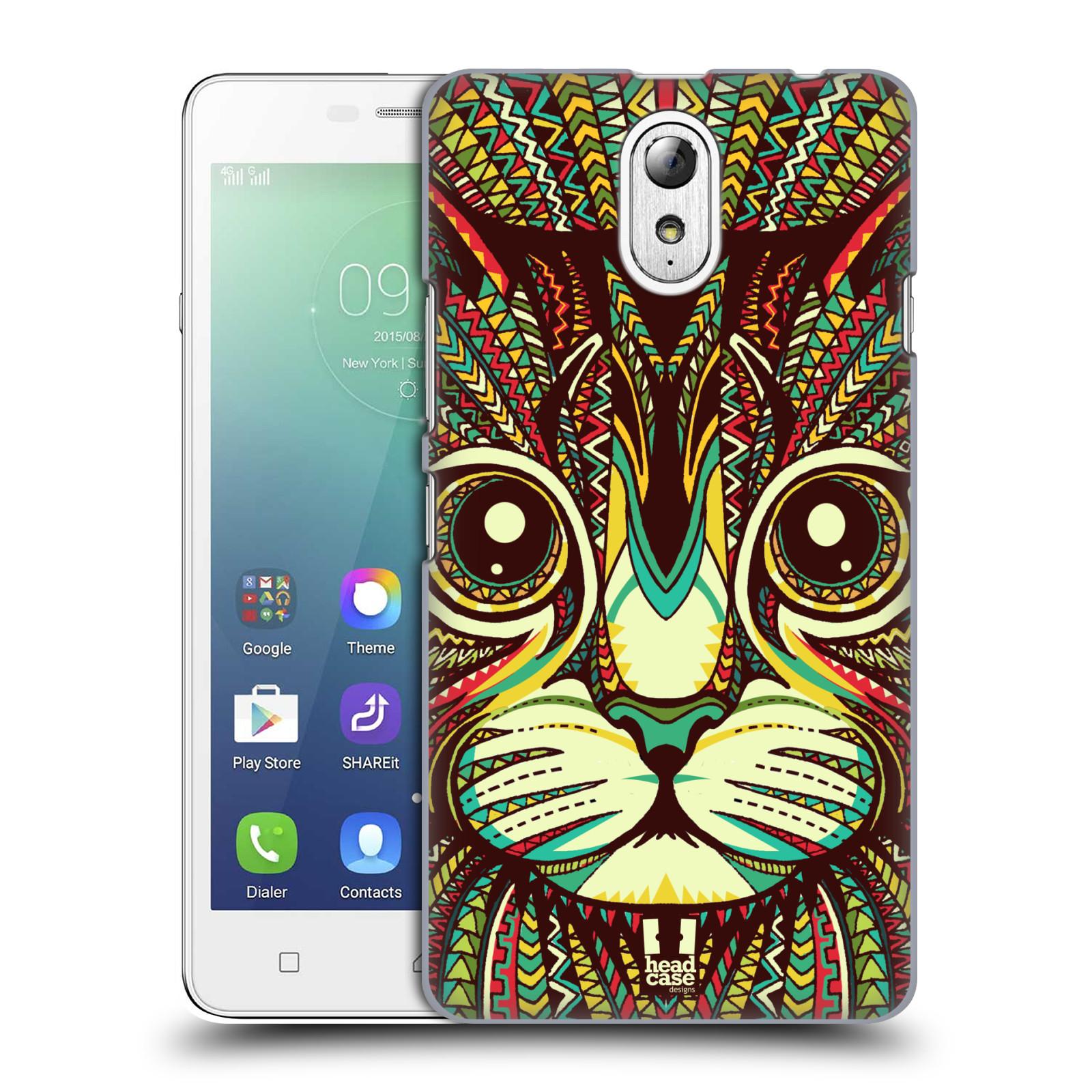 HEAD CASE pevný plastový obal na mobil LENOVO VIBE P1m / LENOVO VIBE p1m DUAL SIM vzor Aztécký motiv zvíře 2 kotě
